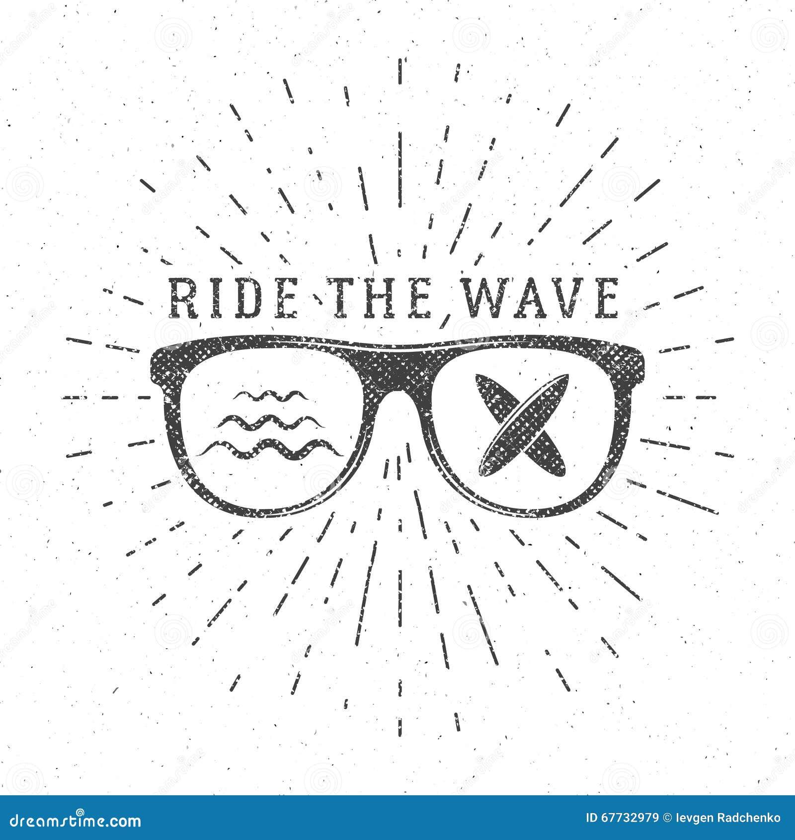 Free poster design and print - Vintage Surfing Graphics And Poster For Web Design Or Print Surfer Glasses Emblem Summer