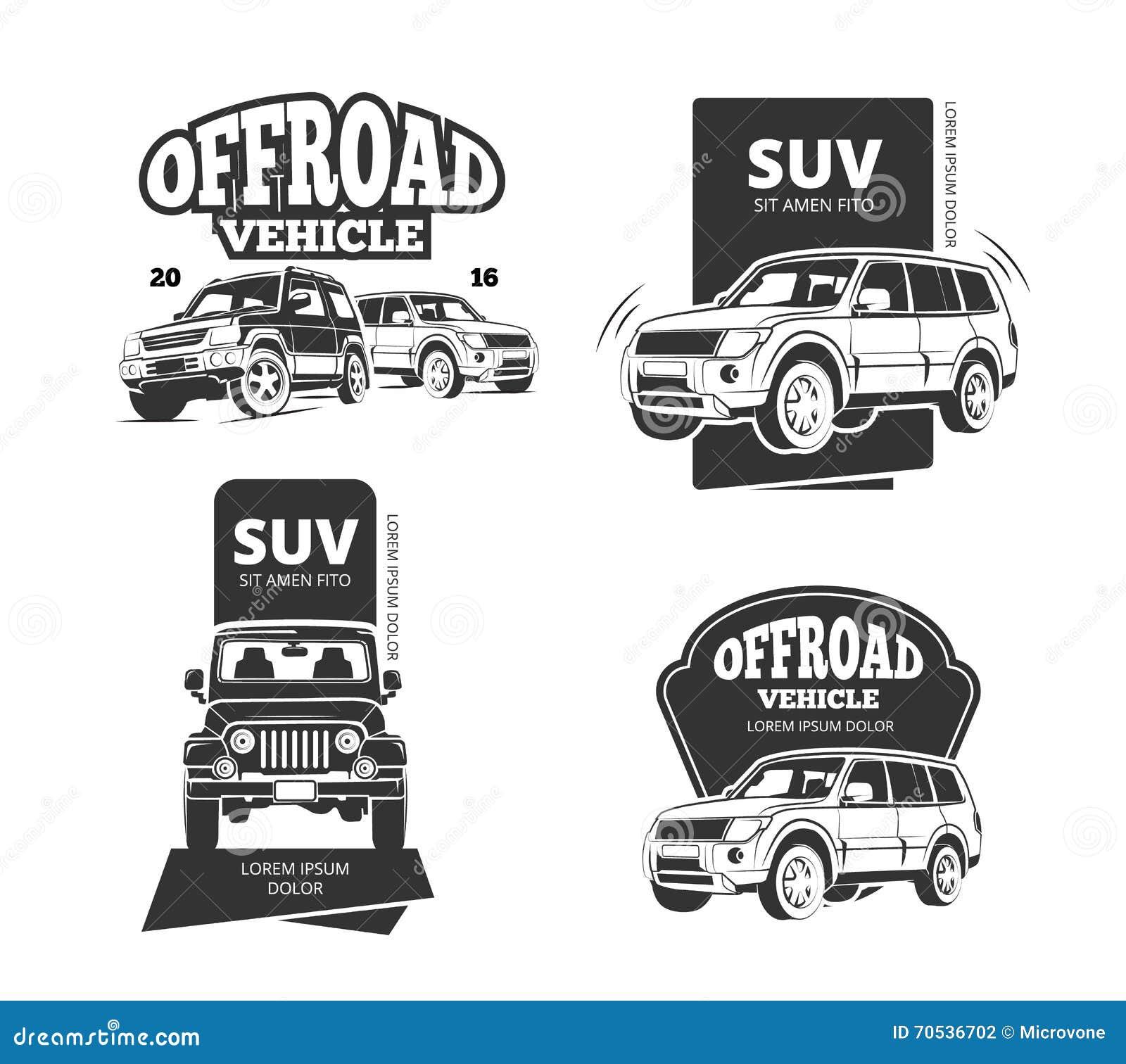 Vintage Suv Car Vector Badges Labels Logos Stock Vector