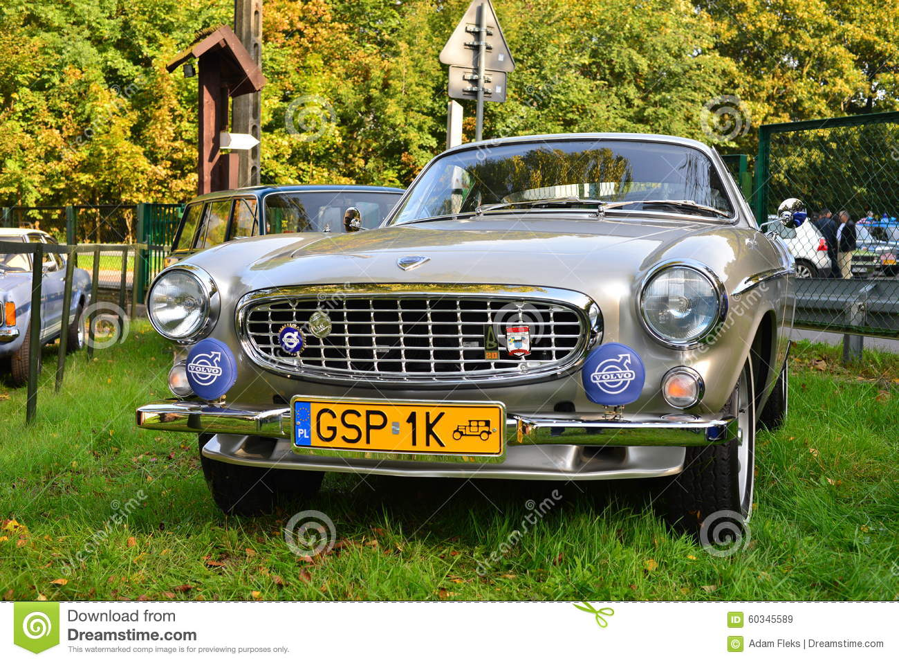 Classic Swedish car Volvo 1800 at a car show : antique number plates - pezcame.com