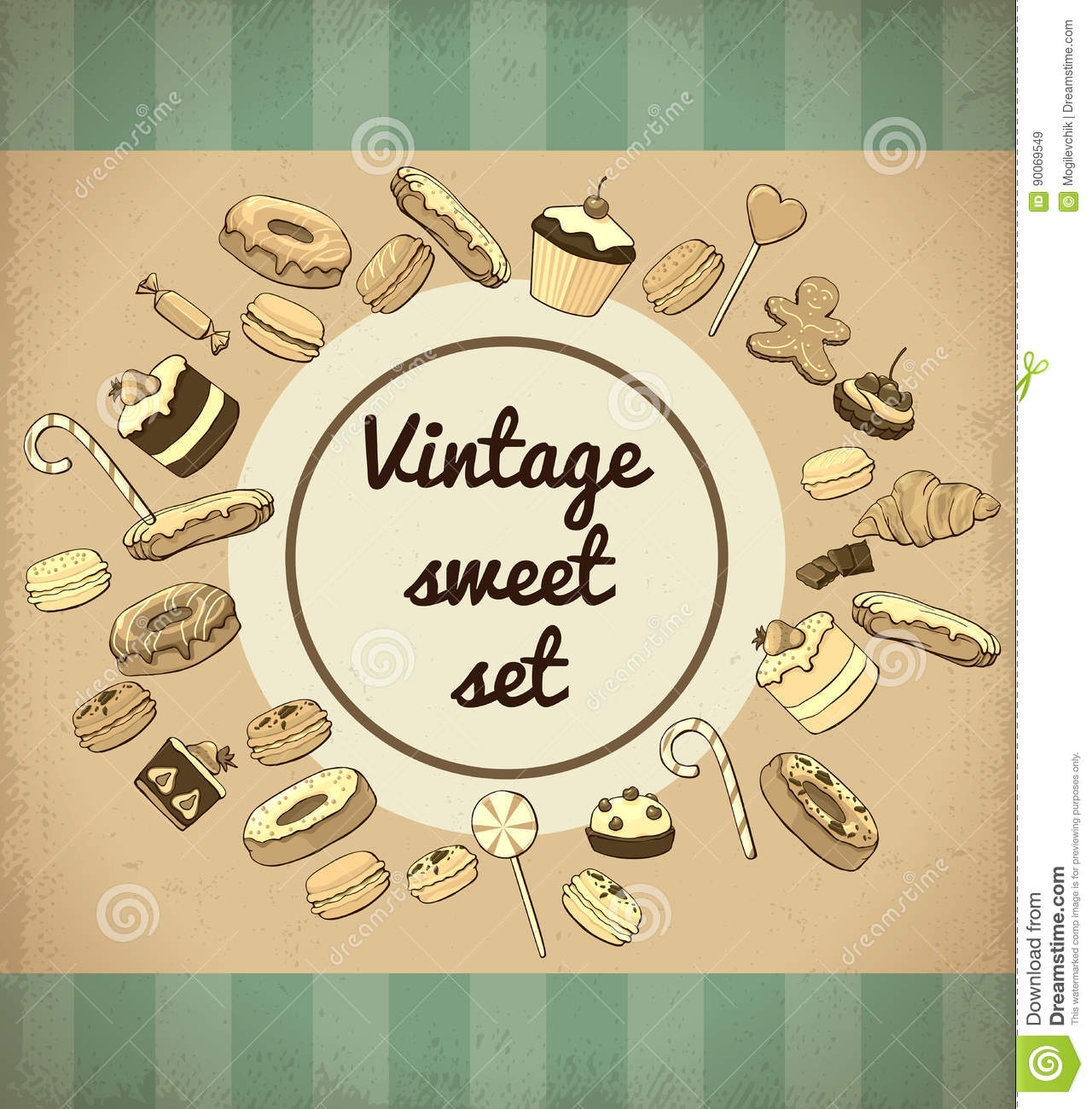 Vintage Sweet Products And Desserts Template With Donuts Candies Lollipops Macaroons Croissant Cookie Cake Muffin Chocolate Bars Vector Illustration