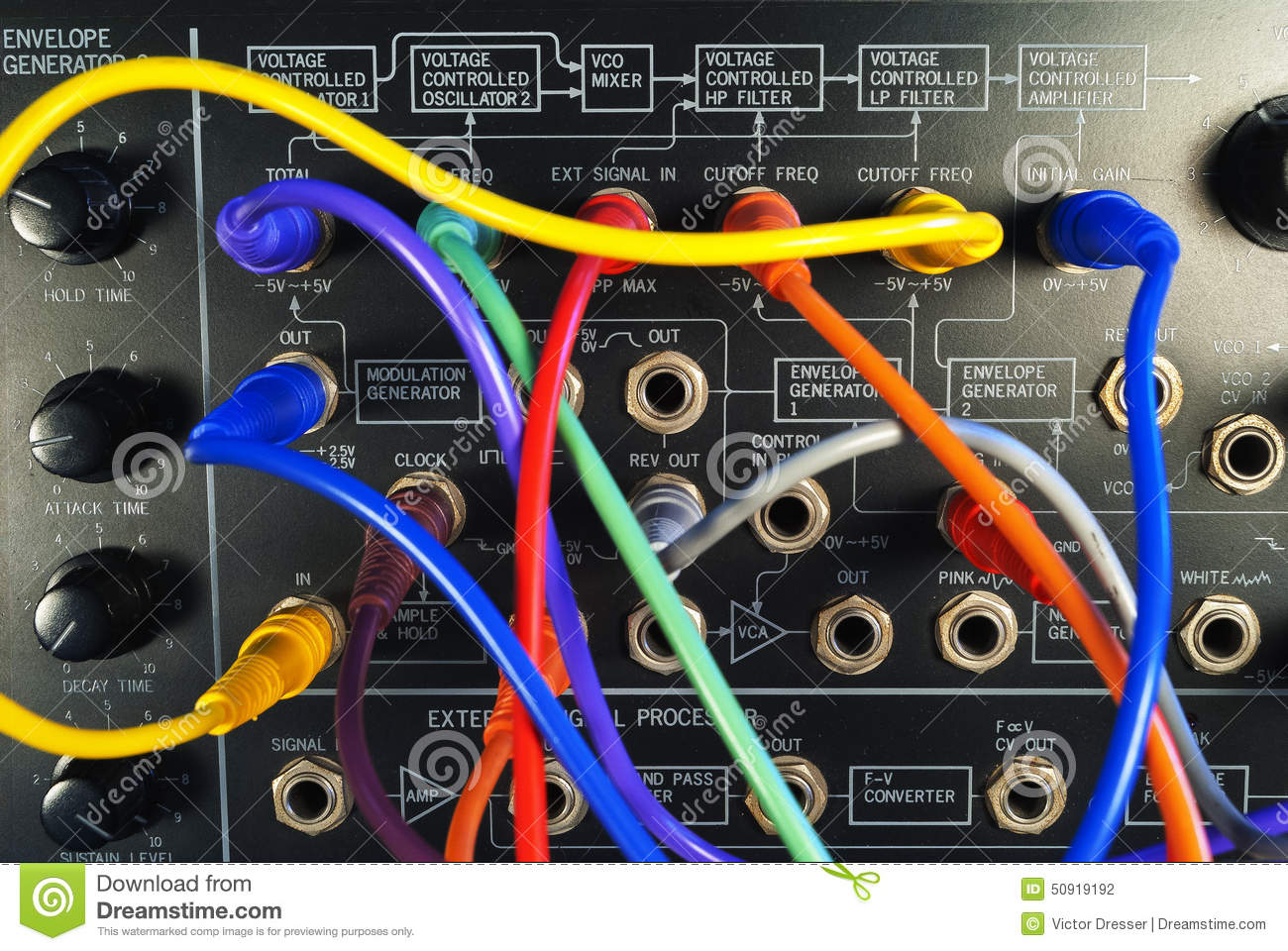 Vintage Synthesizer With Colorful Patch Cables Stock Photo Image Cable Diagram