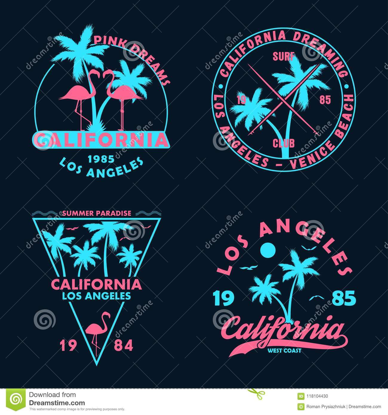 Vintage t-shirt design. Badges and emblems set with California prints. Graphics collection for apparel, labels and patches.