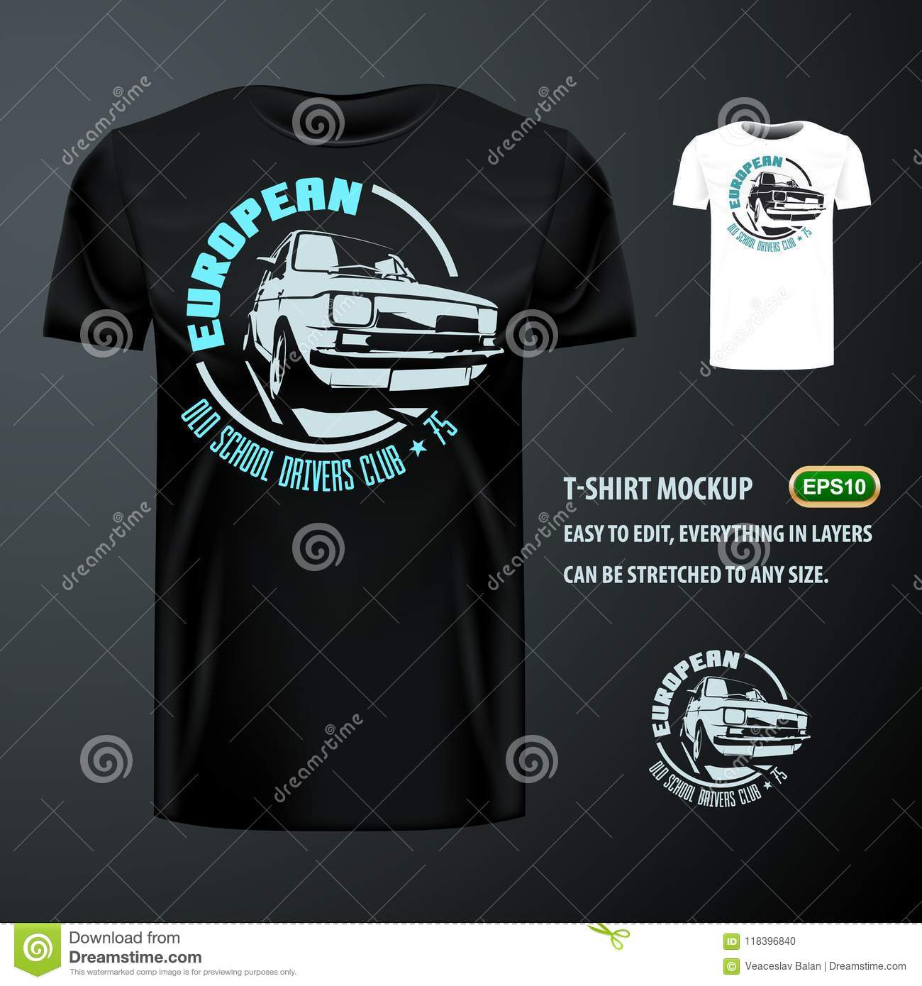 b411344151d Vintage T-shirt With Stylish European Old Car. Editable Mock Up ...