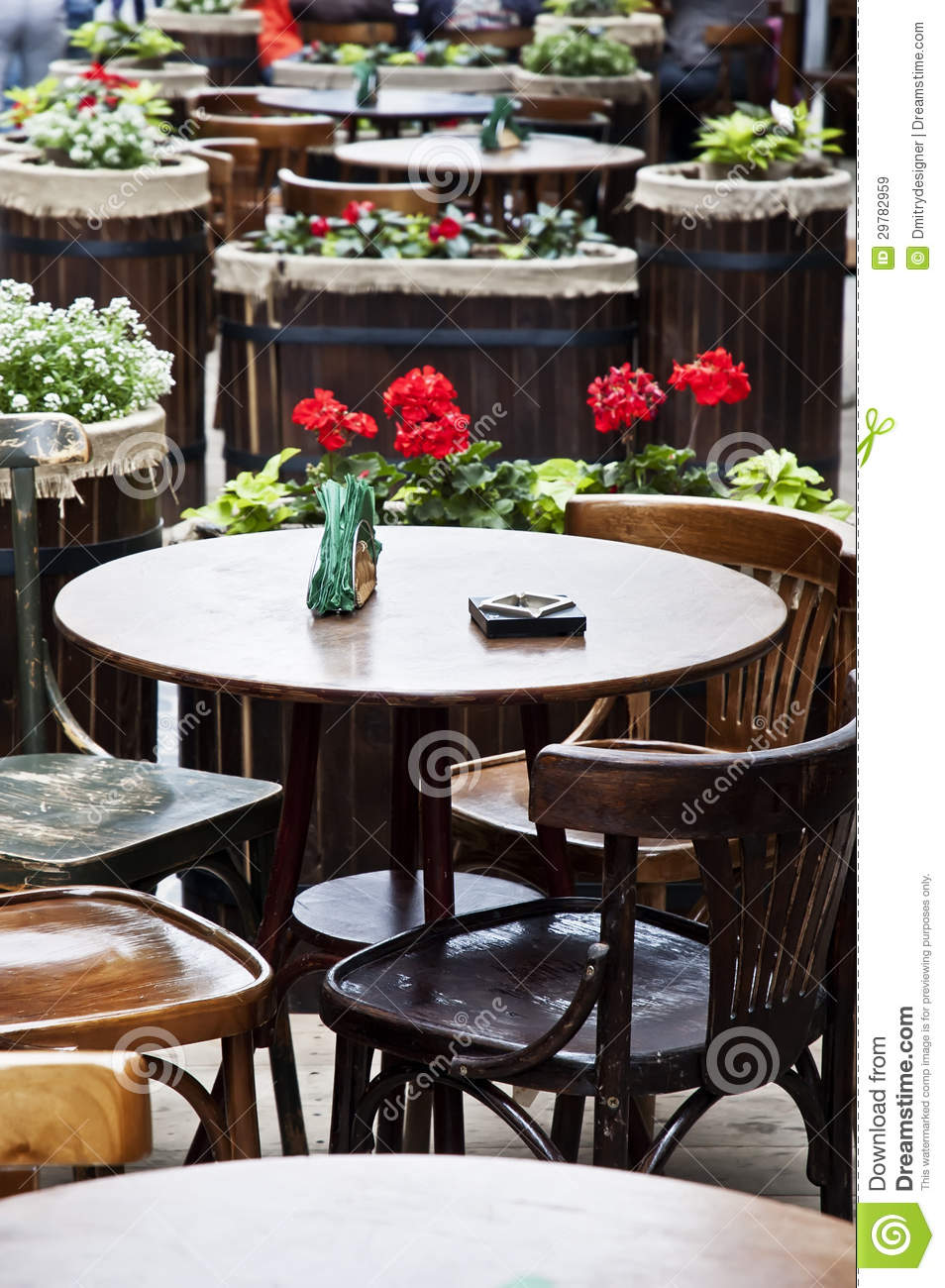vintage table and chairs in a street cafe stock image. Black Bedroom Furniture Sets. Home Design Ideas