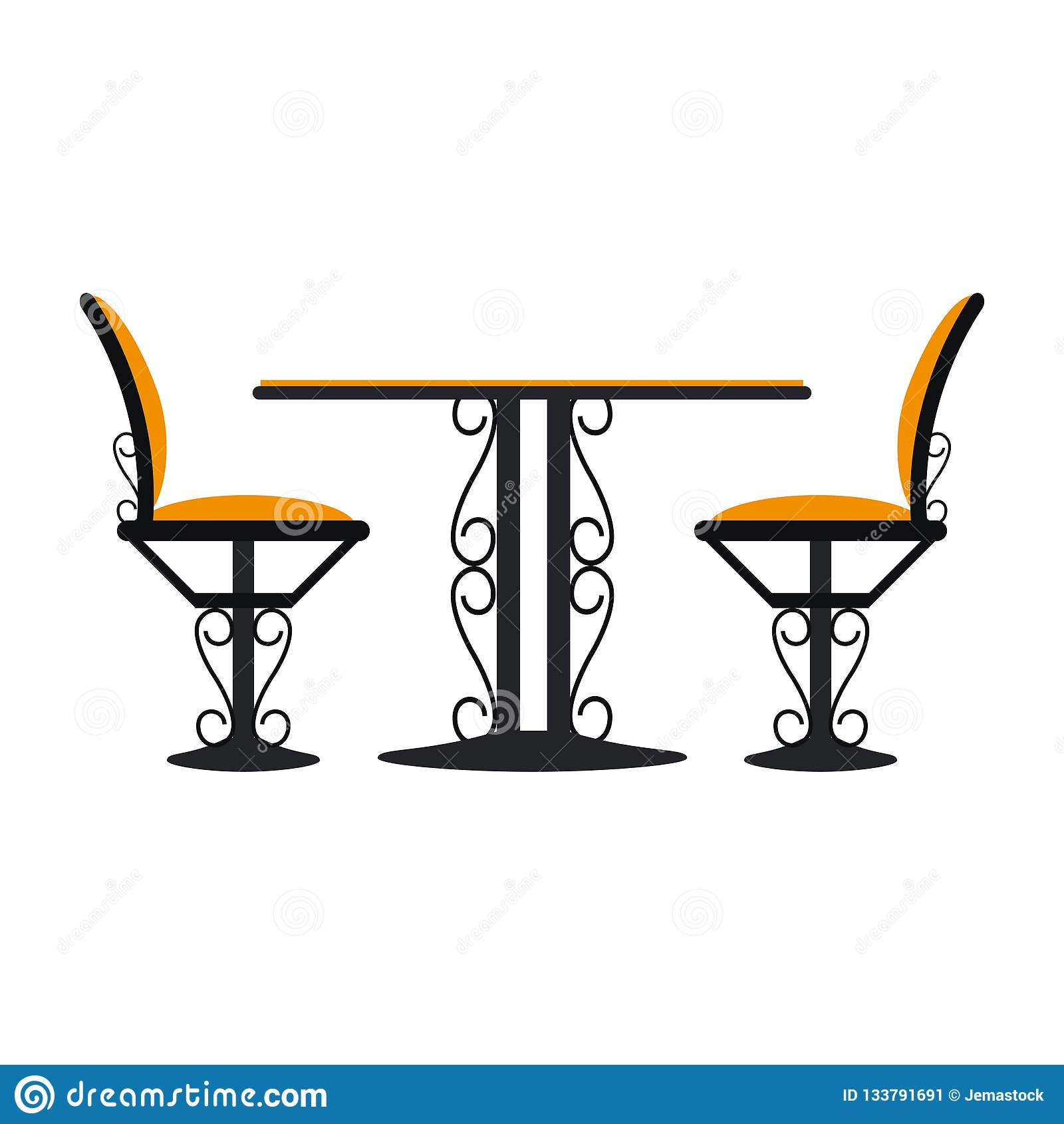 Vintage table and chairs vector illustration graphic design