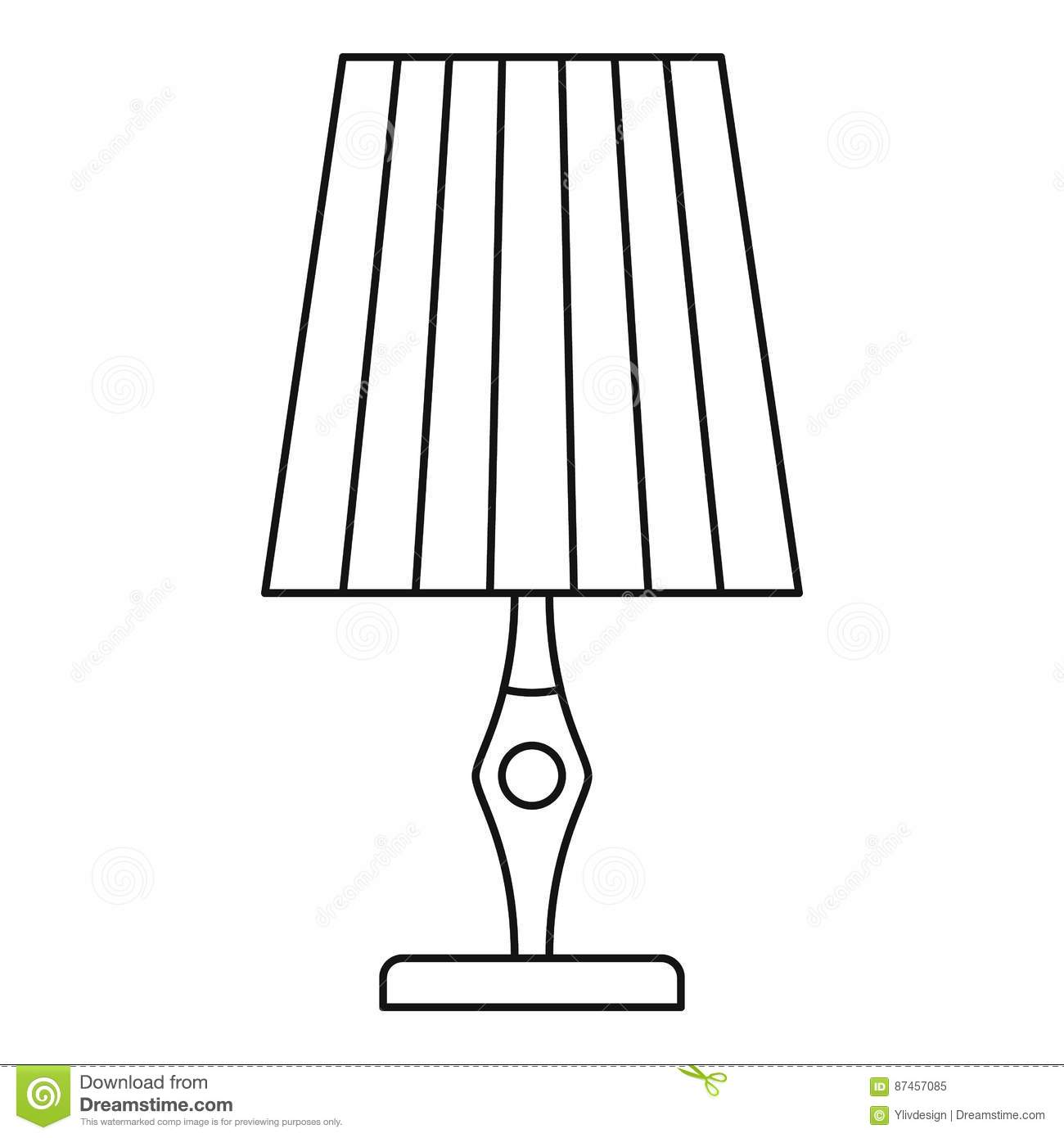 Bedroom Armchair Vintage Table Lamp Icon Outline Style Cartoon Vector