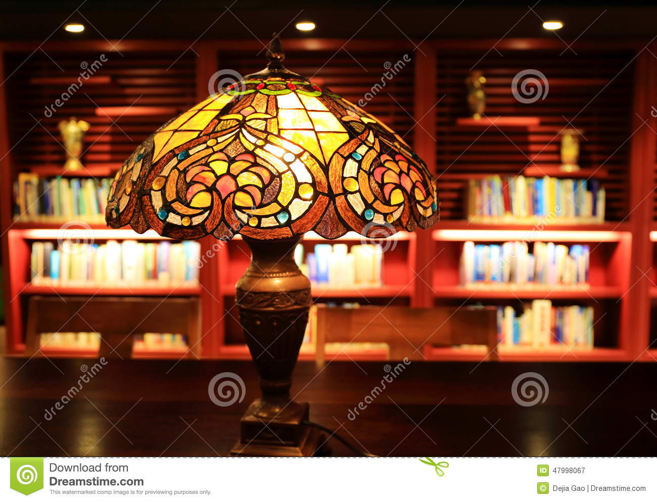 table lamp desk light in study reading room stock photo image 47998067. Black Bedroom Furniture Sets. Home Design Ideas