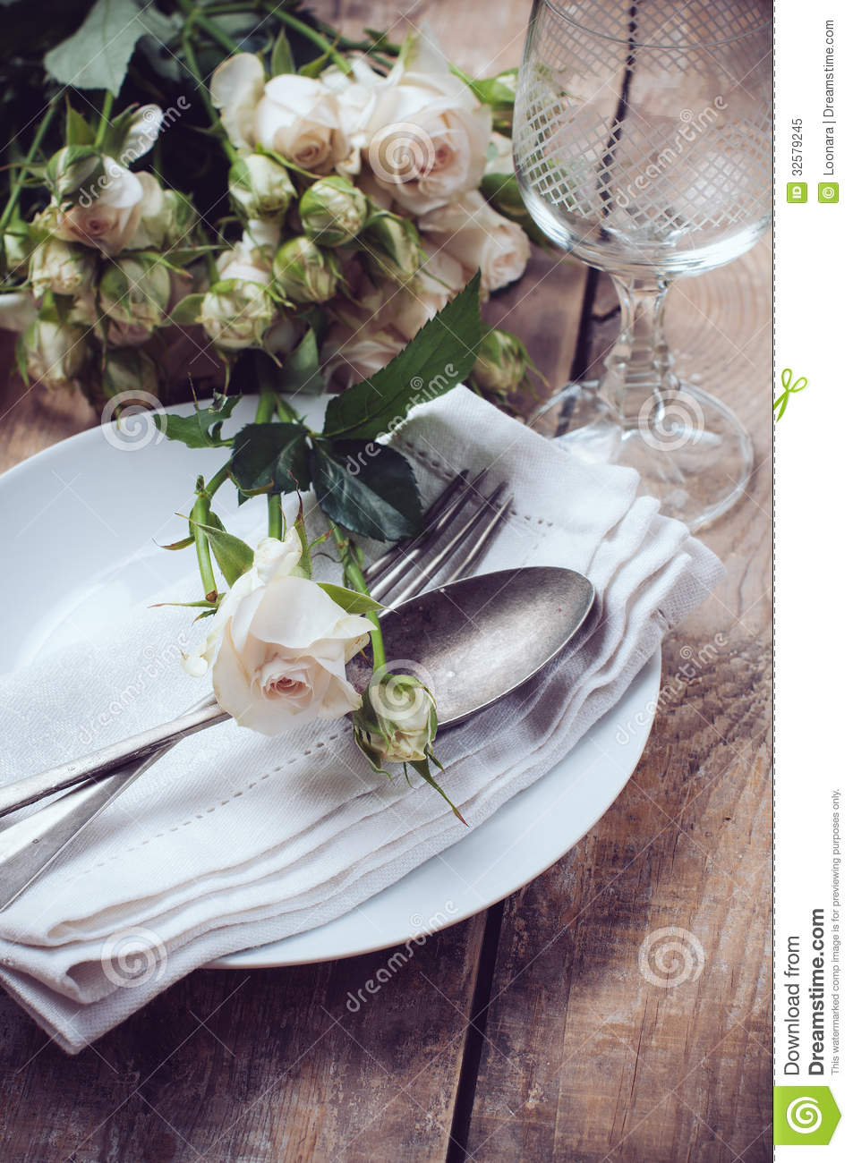 vintage table setting with roses stock image image of