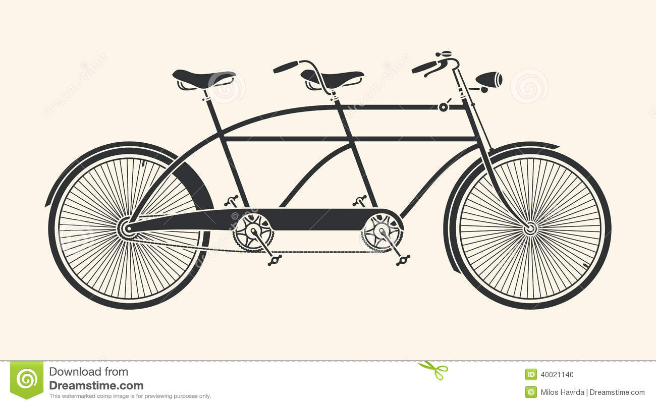 Vintage Tandem Bicycle Stock Vector Illustration Of