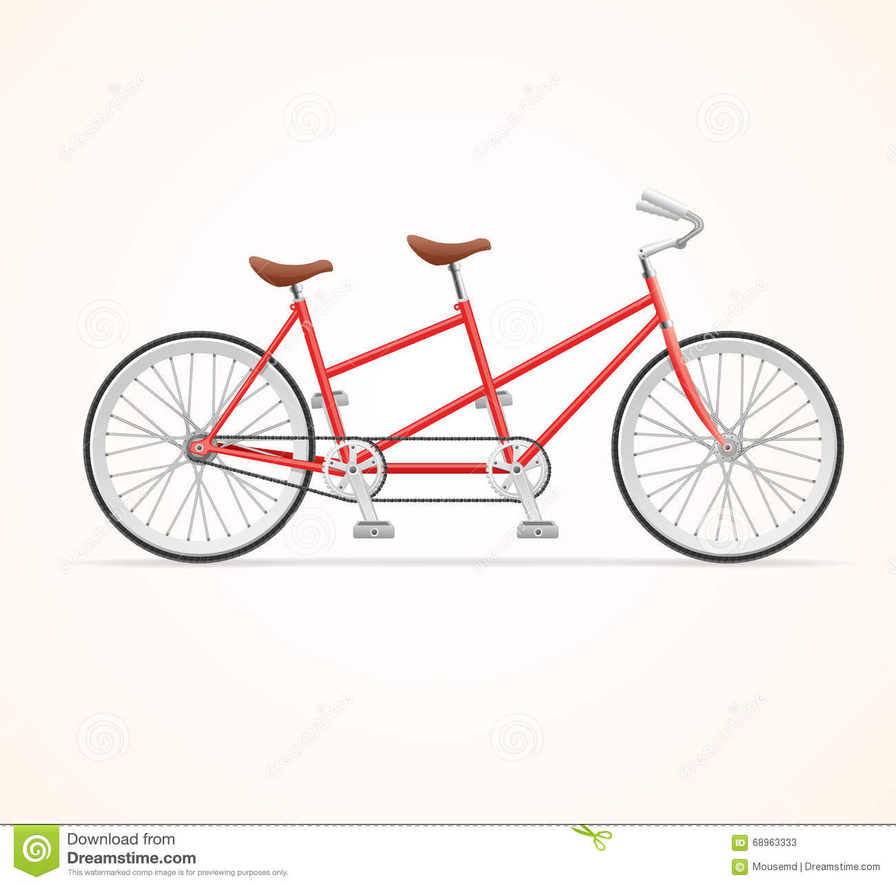 Vintage Tandem Bicycle. Vector Stock Vector - Image: 68963333