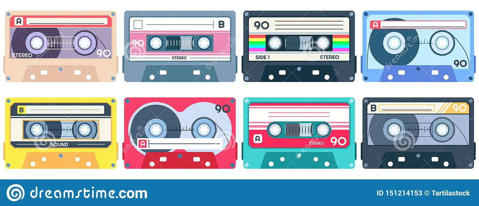 Vintage Tape Cassette  Retro Mixtape, 1980s Pop Songs Tapes And