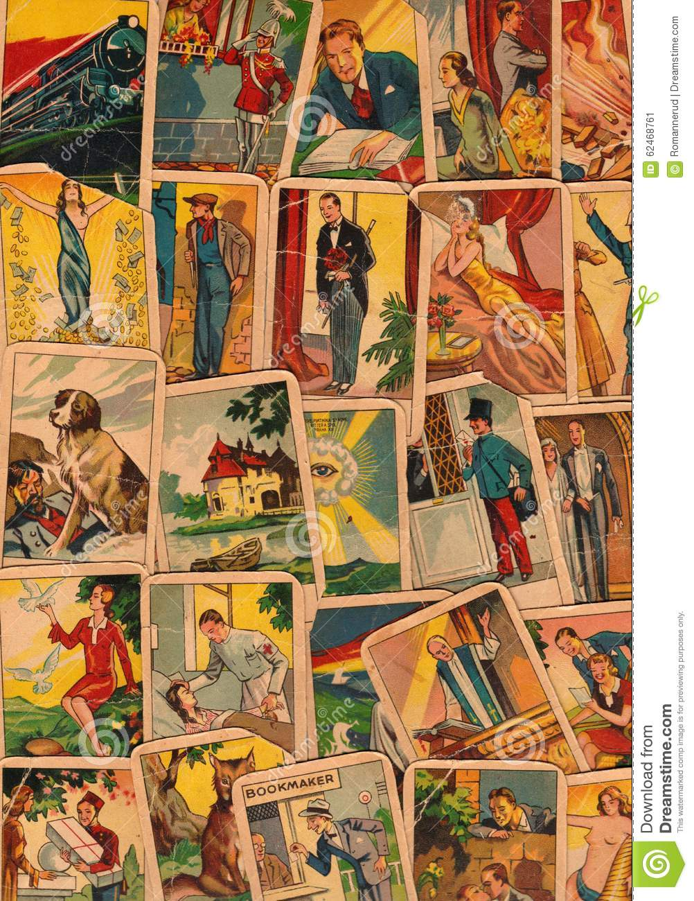 Vintage Tarot Cards. Fortunetelling With One Of The Most