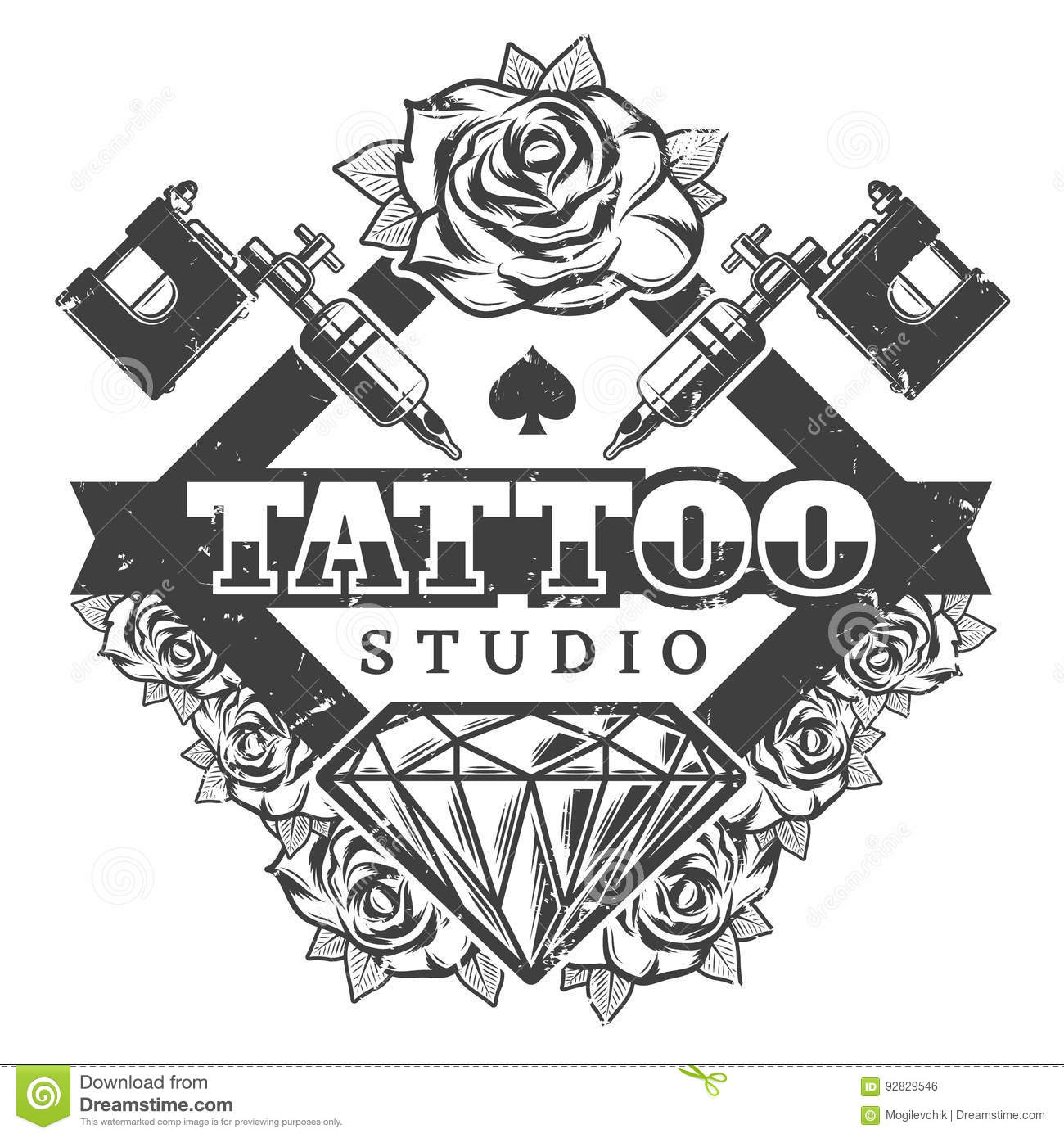 Download Vintage Tattoo Salon Logotype Template Stock Vector
