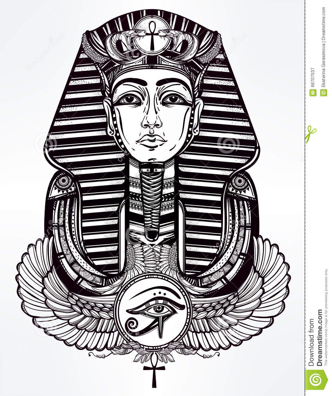 Vintage Tattoo Vector Pharaoh With Winged Ankh Stock Vector Illustration Of History Ancient