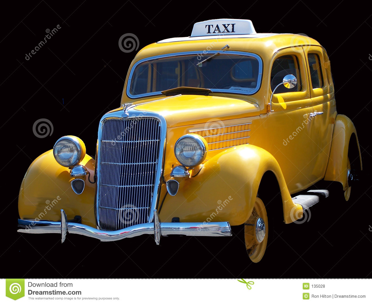 Vintage Taxi Cab stock photo. Image of isolated, yellow ...