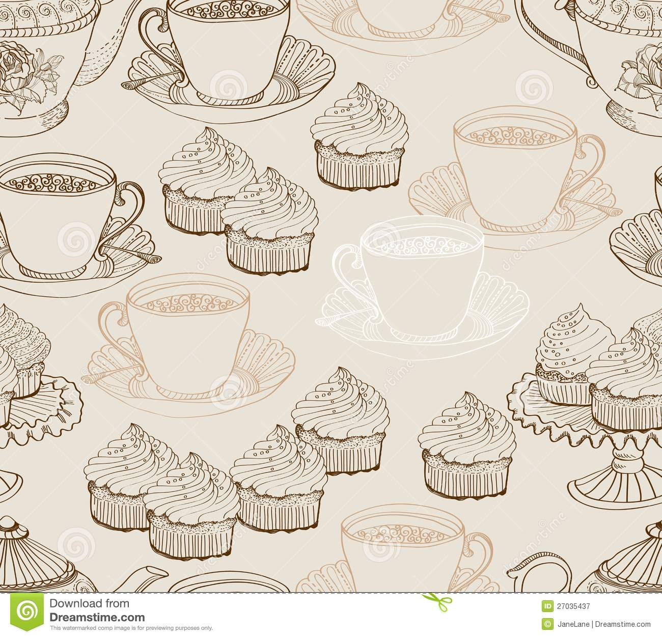 Kitchen Tea Background: Vintage Tea Background. Seamless Pattern Royalty Free