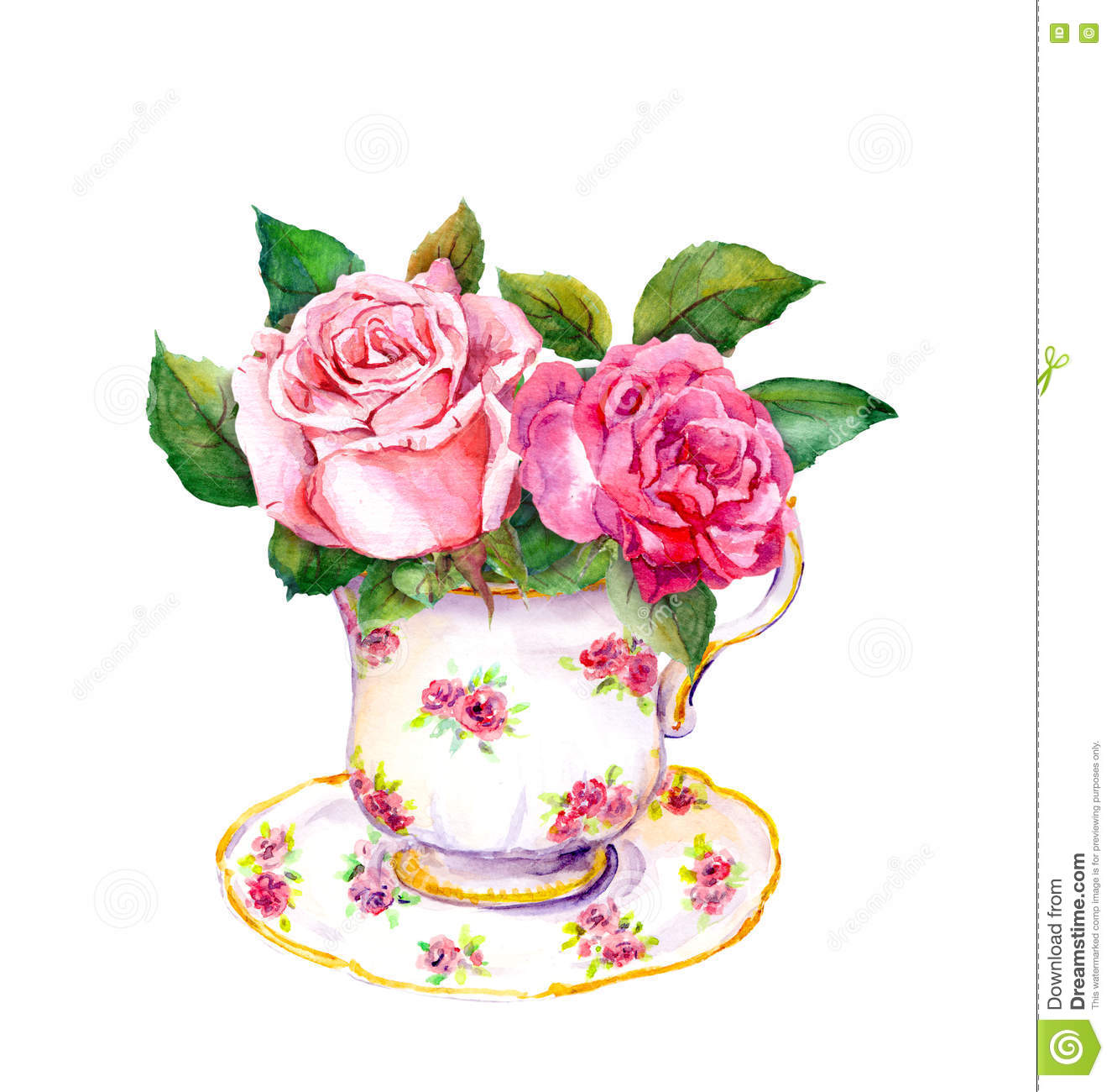 Vintage Tea Cup With Rose Flowers Watercolor Stock