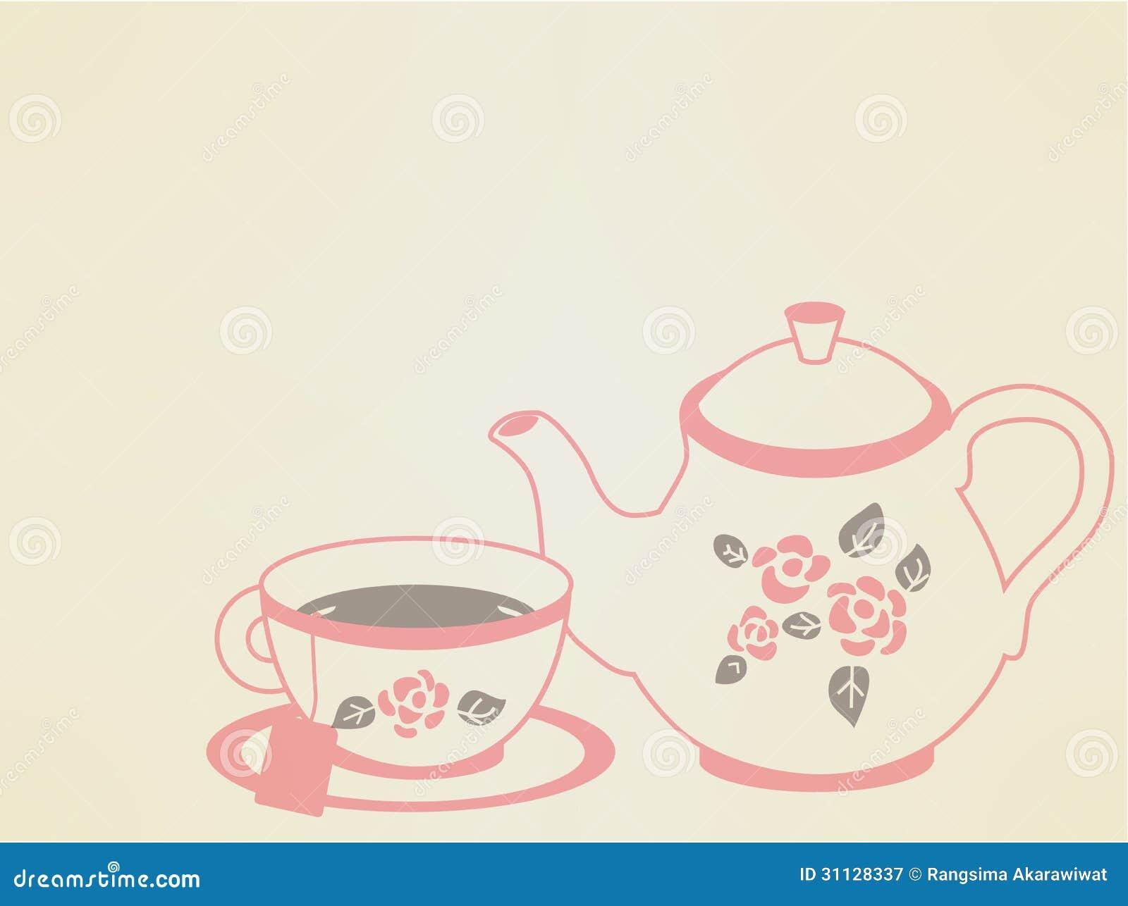 Vintage Tea Pot Set stock illustration. Illustration of ...