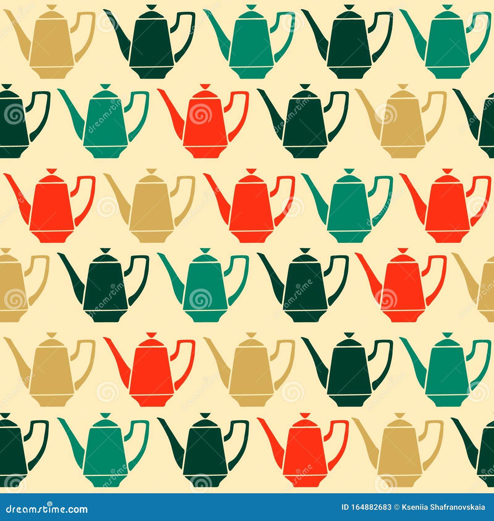 Vintage Tea Pots, Vector Seamless Pattern Stock Vector ...