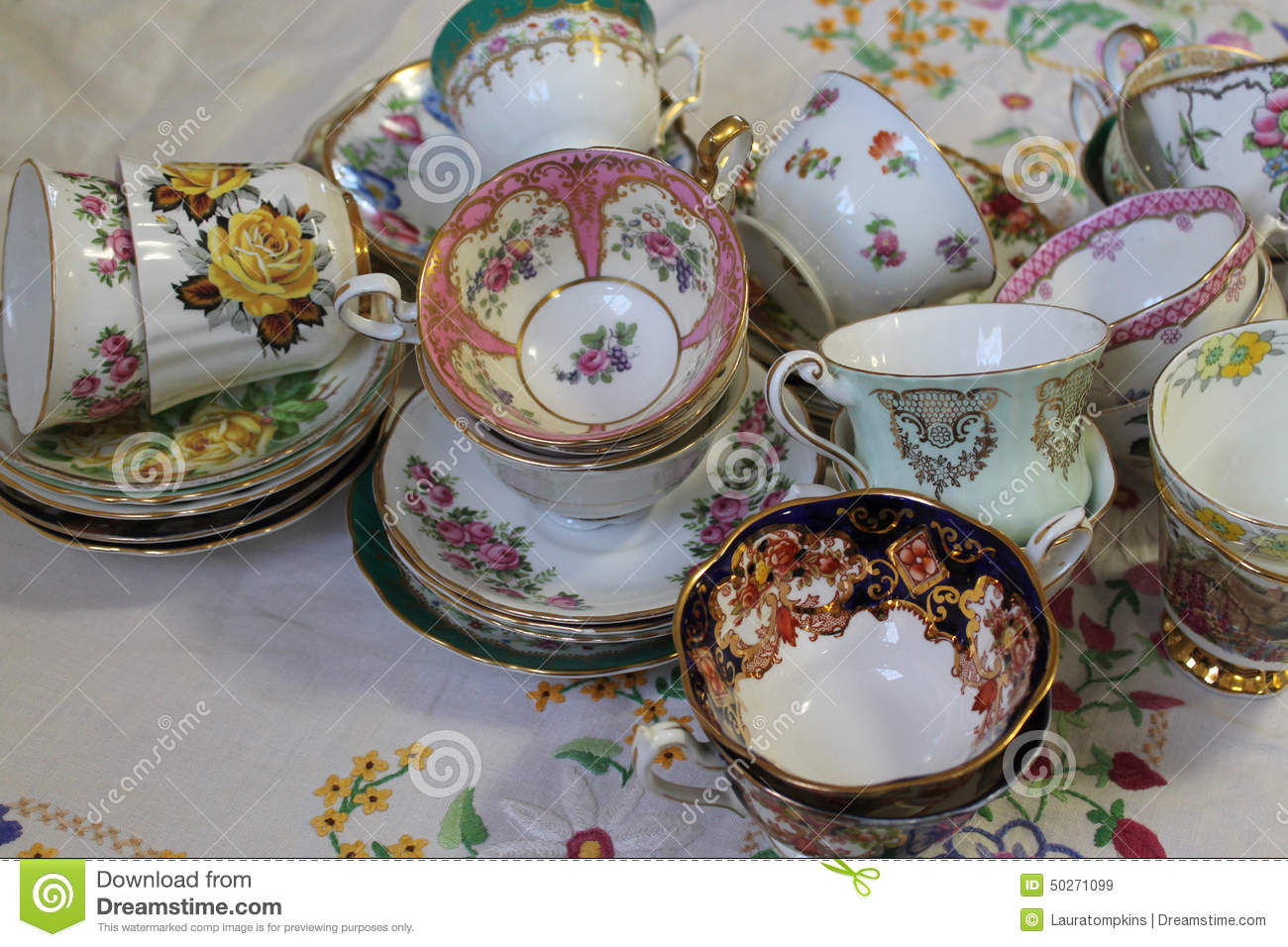 Vintage Teacups And Saucers Stock Photo Image 50271099