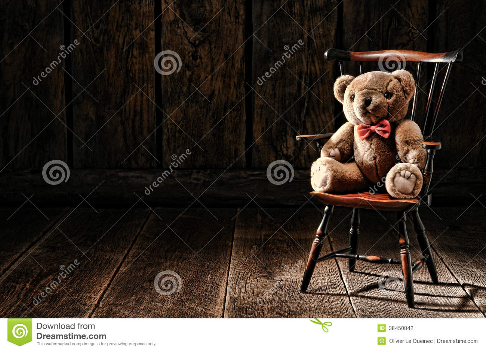 Vintage Teddy Bear Stuffed Animal Toy On Old Chair Stock