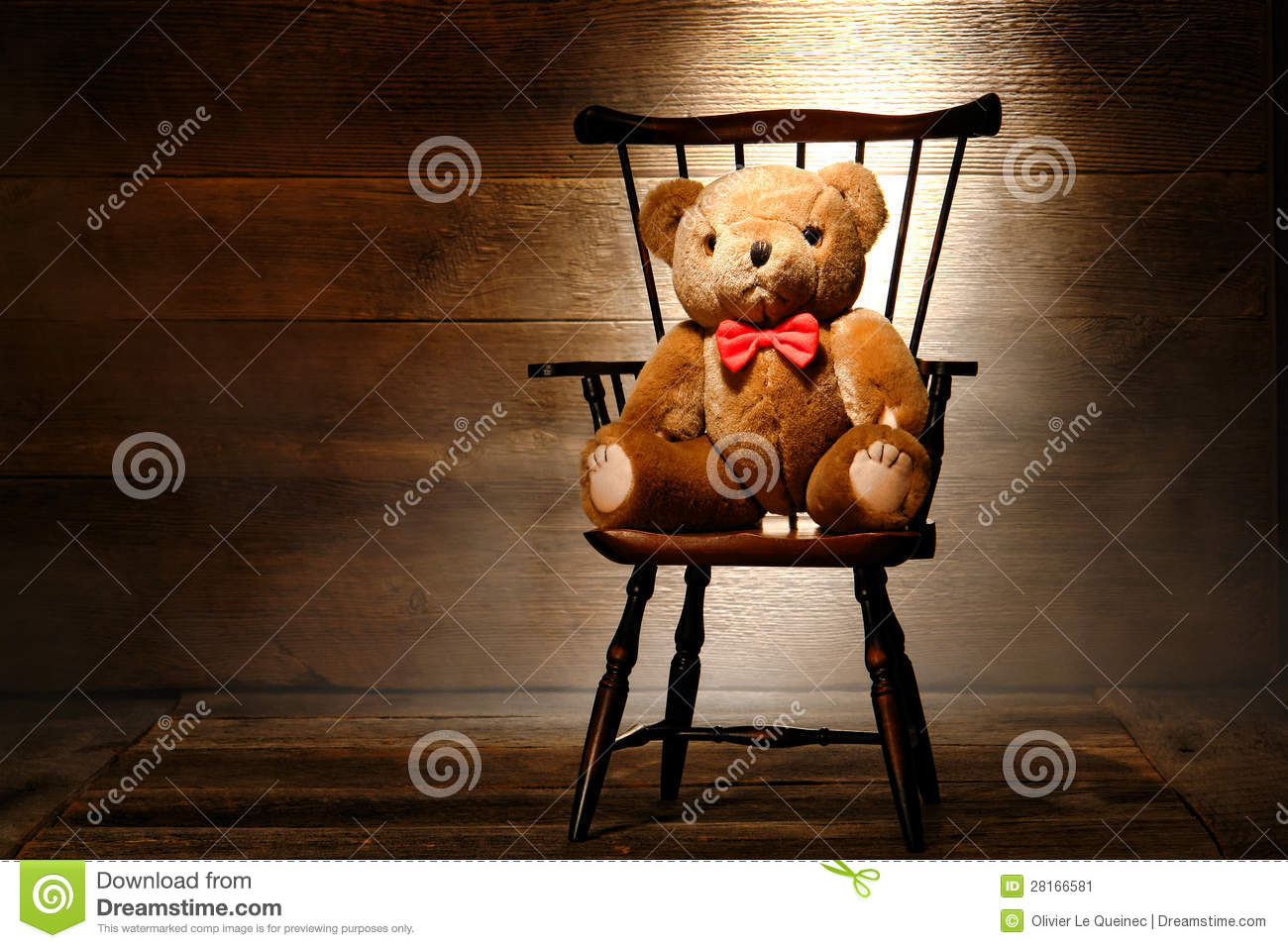 Vintage Teddy Bear Toy On Chair In Old House Attic Stock