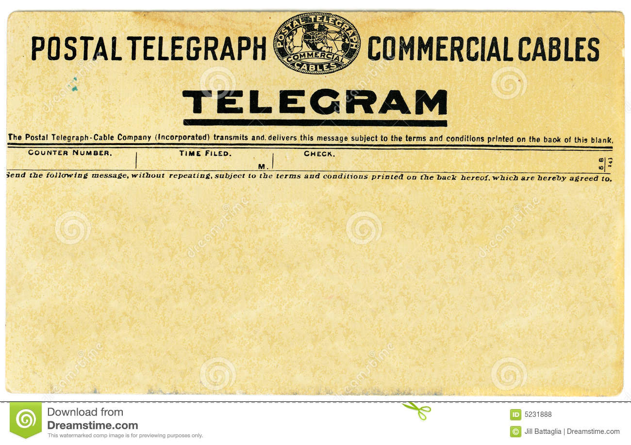 Old Fashioned Telegram Template