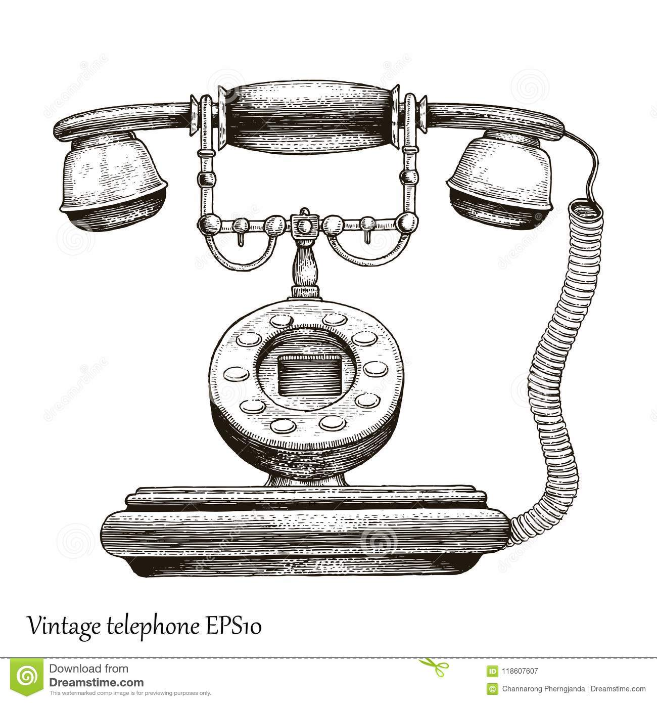 Vintage telephone hand drawing engraving style,Retro phone Initial communication device