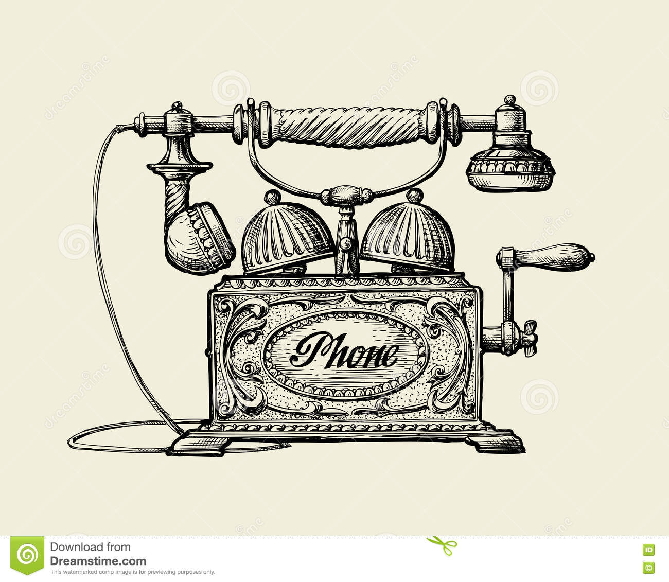 Classic Retro Illustration: Vintage Telephone. Hand-drawn Sketch Retro Phone. Vector