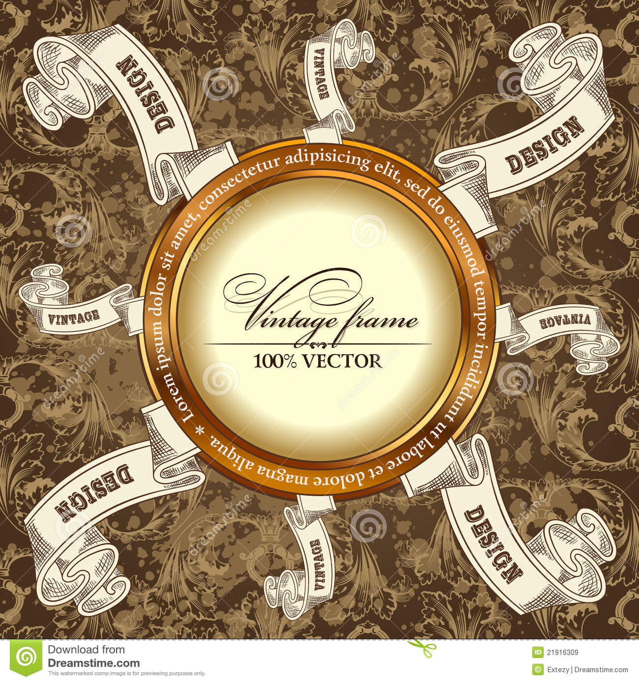 vintage template background with label scroll royalty free