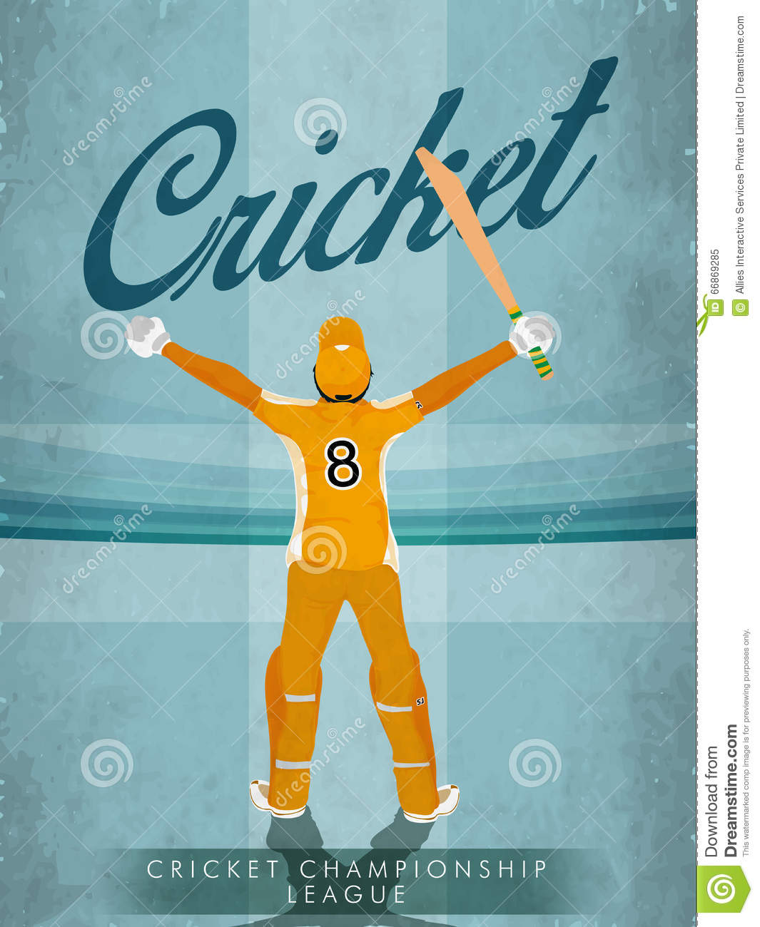 Invitation For Corporate Cricket Tournament: Vintage Template, Banner Or Flyer For Cricket. Stock