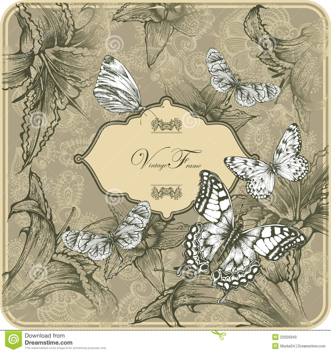 Vintage Template With Butterflies And Blooming Lil