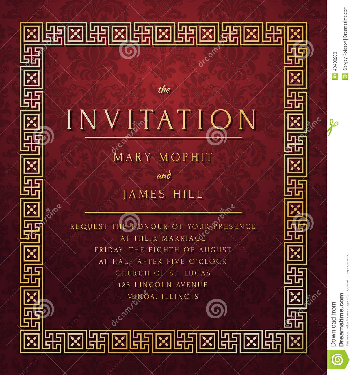 Vintage Template Wedding Invitation Stock Vector - Illustration of ...