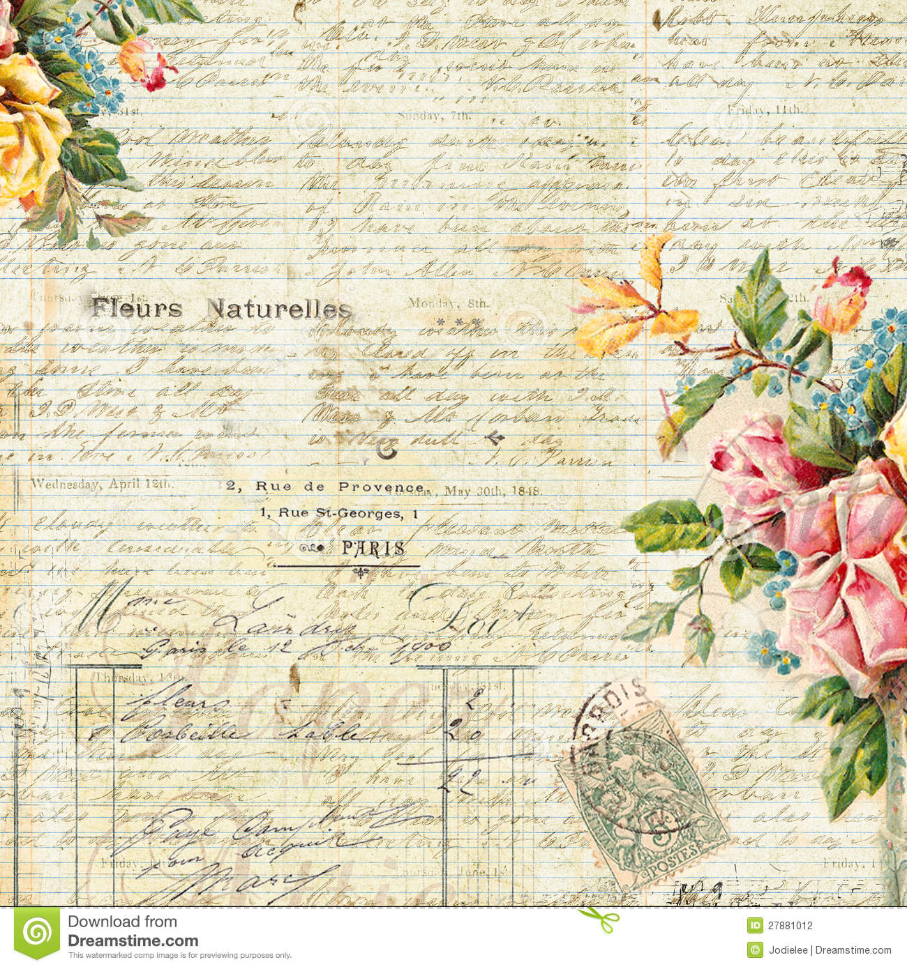 Vintage Text Background With Floral Frame Stock Photo