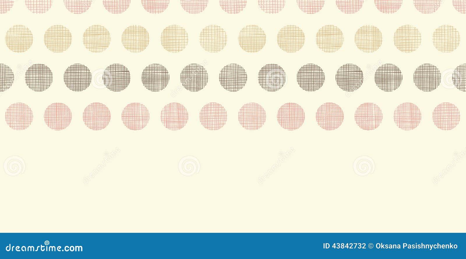 Vintage Textile Polka Dots Horizontal Border Stock Vector
