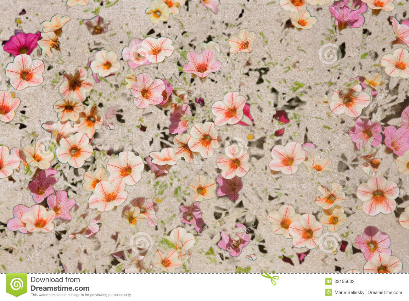 vintage texture with pink flax flowers stock illustration