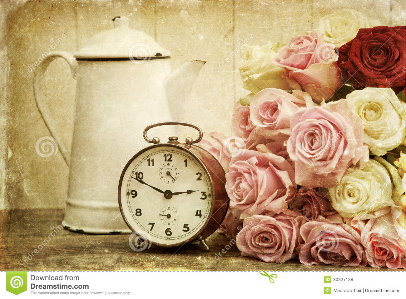 Vintage Textured Still Life With Roses And Alarm Clock