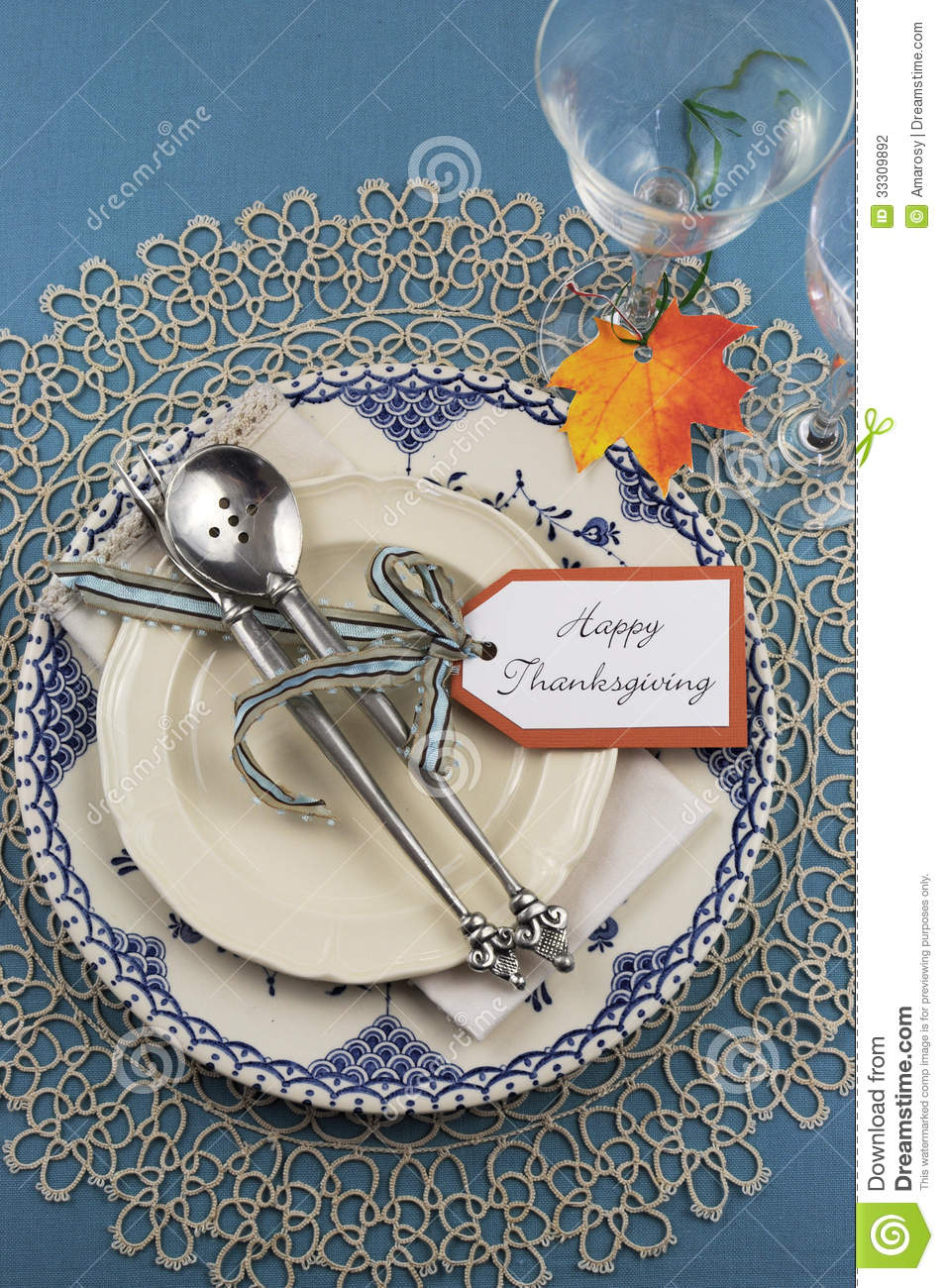 Vintage Thanksgiving Dinner Table Place Setting Vertical