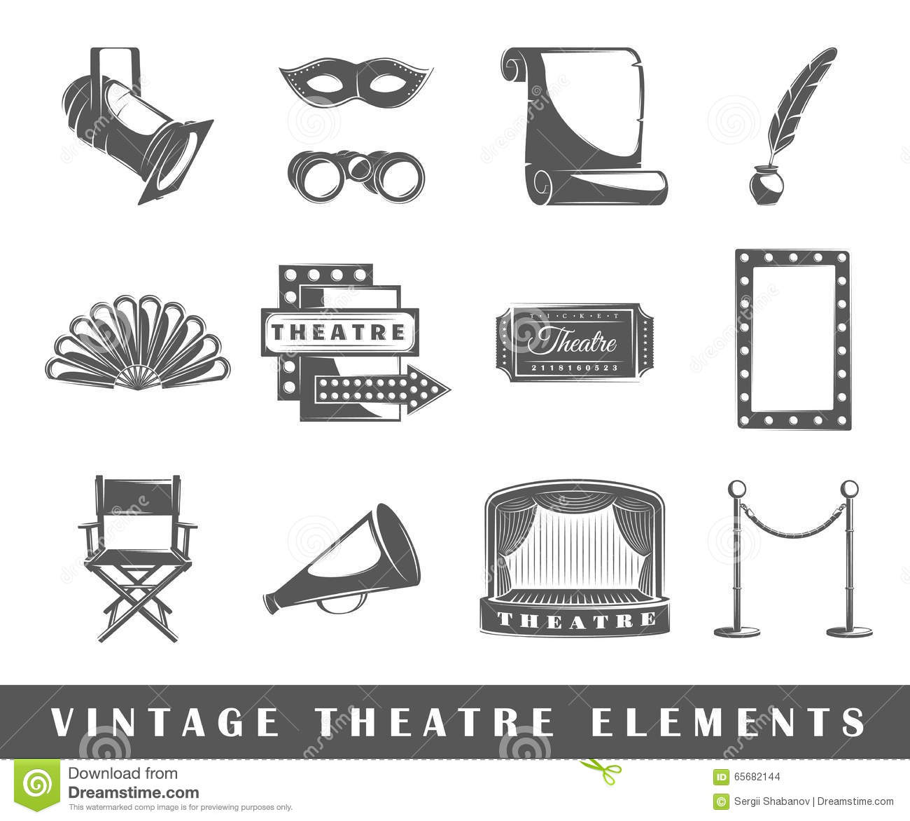 Vintage theatre elements stock vector illustration of decorative vintage theatre elements buycottarizona