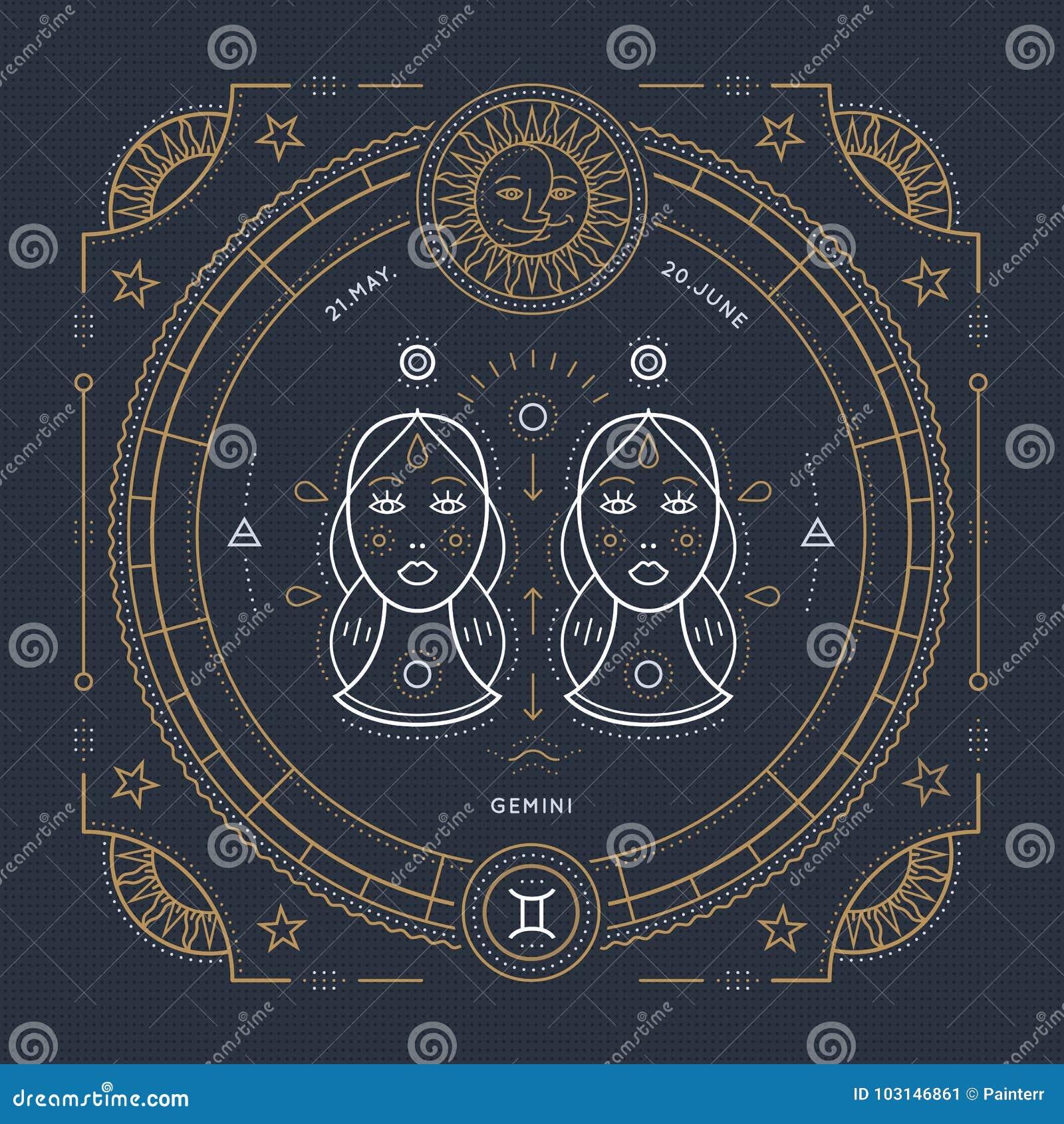 Vintage thin line Gemini zodiac sign label. Retro vector astrological symbol, mystic, sacred geometry element, emblem