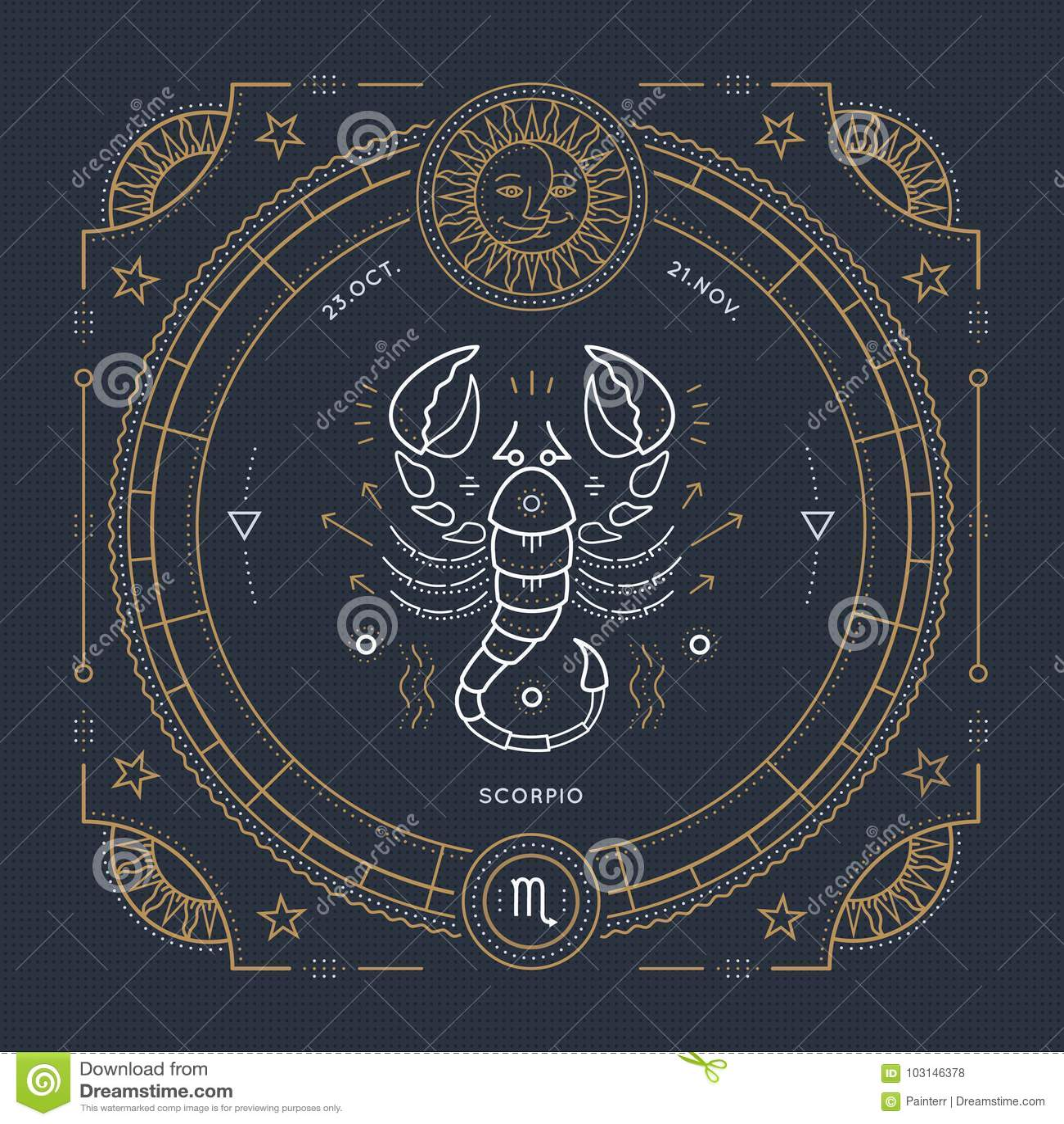 Vintage thin line Scorpio zodiac sign label. Retro vector astrological symbol, mystic, sacred geometry element, emblem