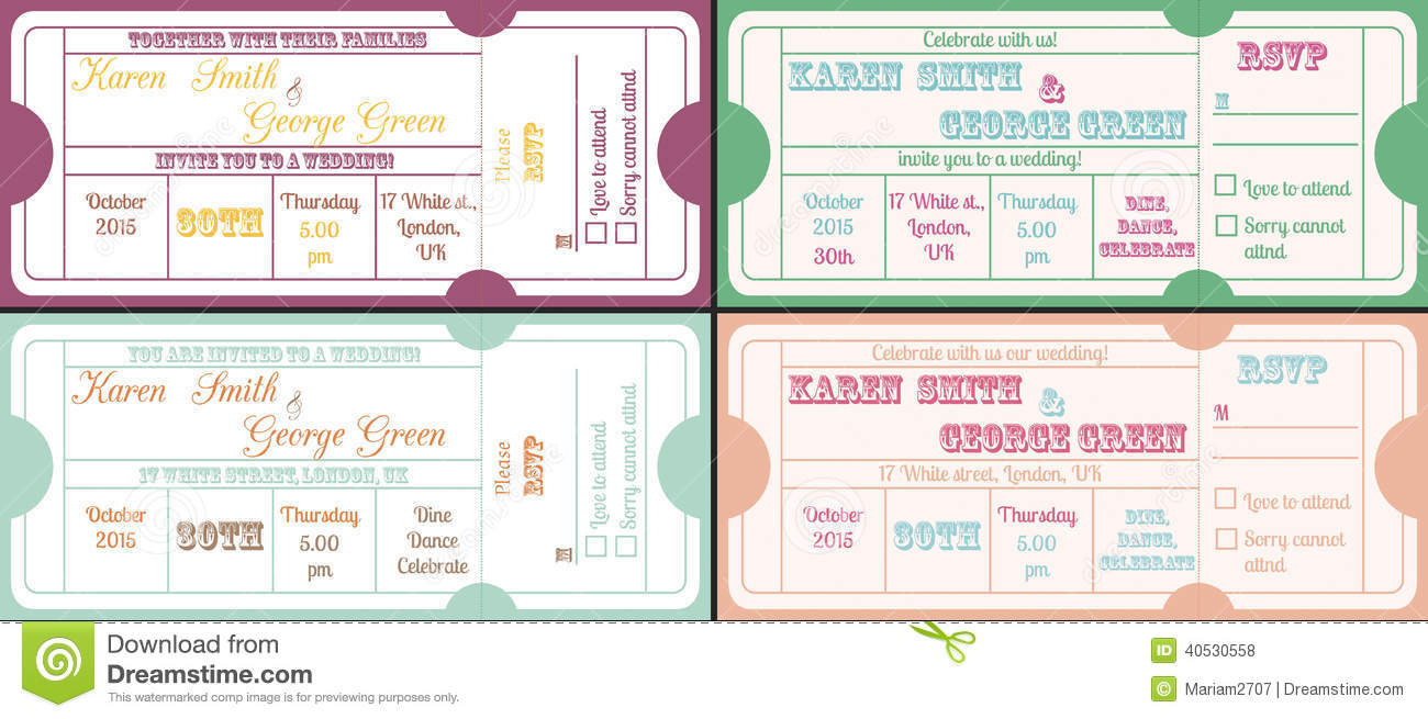 Vintage Ticket Invitations Stock Vector - Image: 40530558