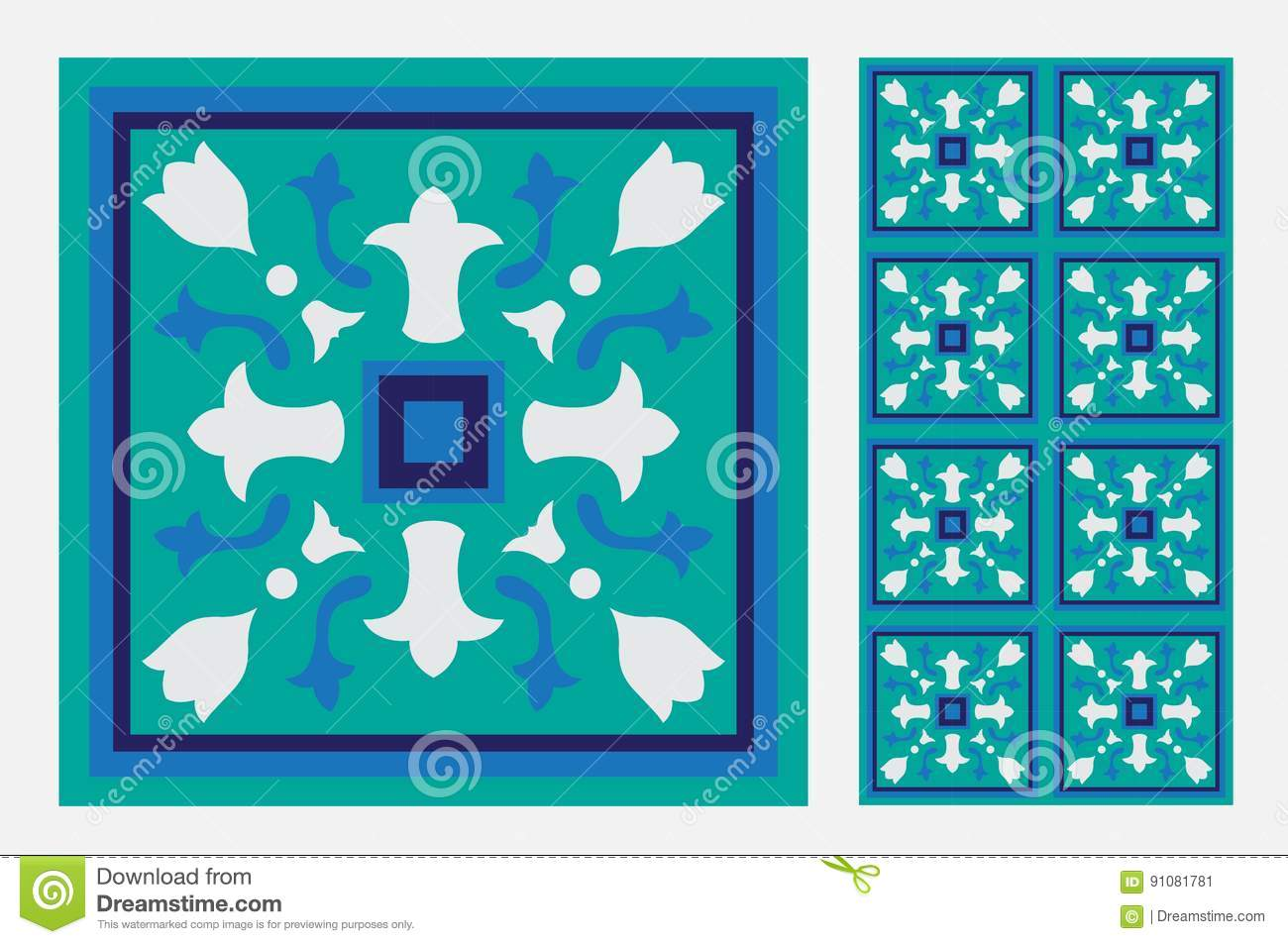 Vintage tile stock vector. Illustration of covering, exterior - 91081781