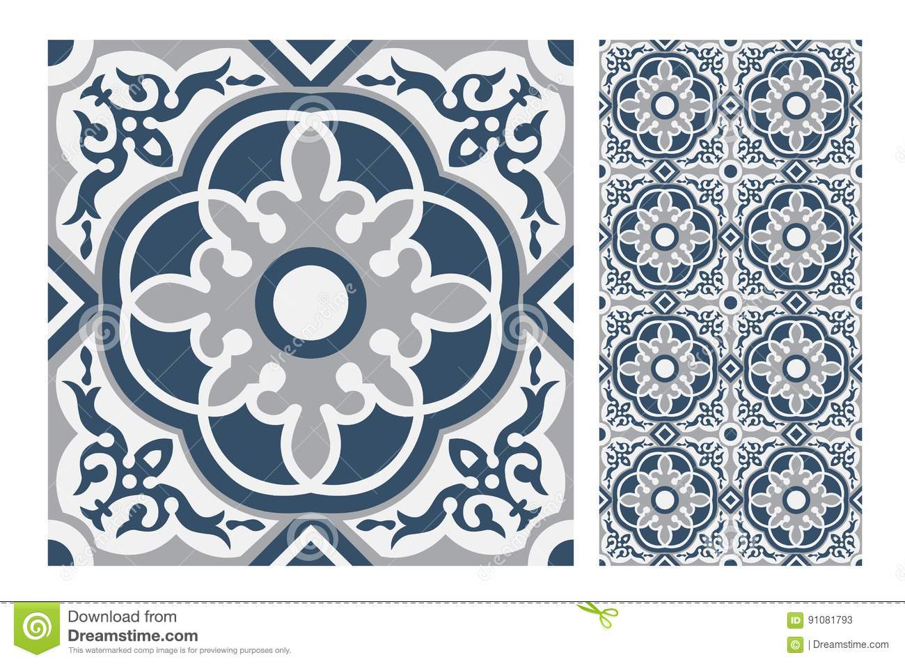 Vintage tile stock vector. Illustration of abstract, floral - 91081793