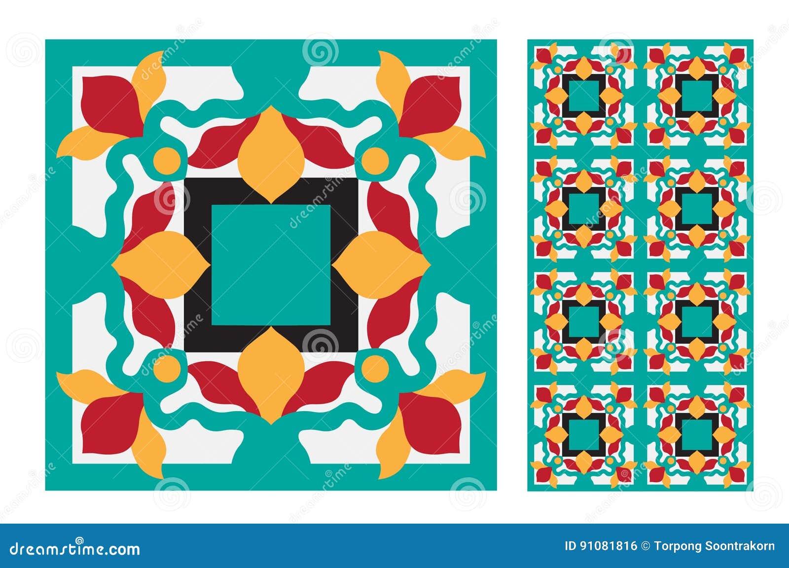 Vintage tile stock vector. Illustration of fabric, design - 91081816
