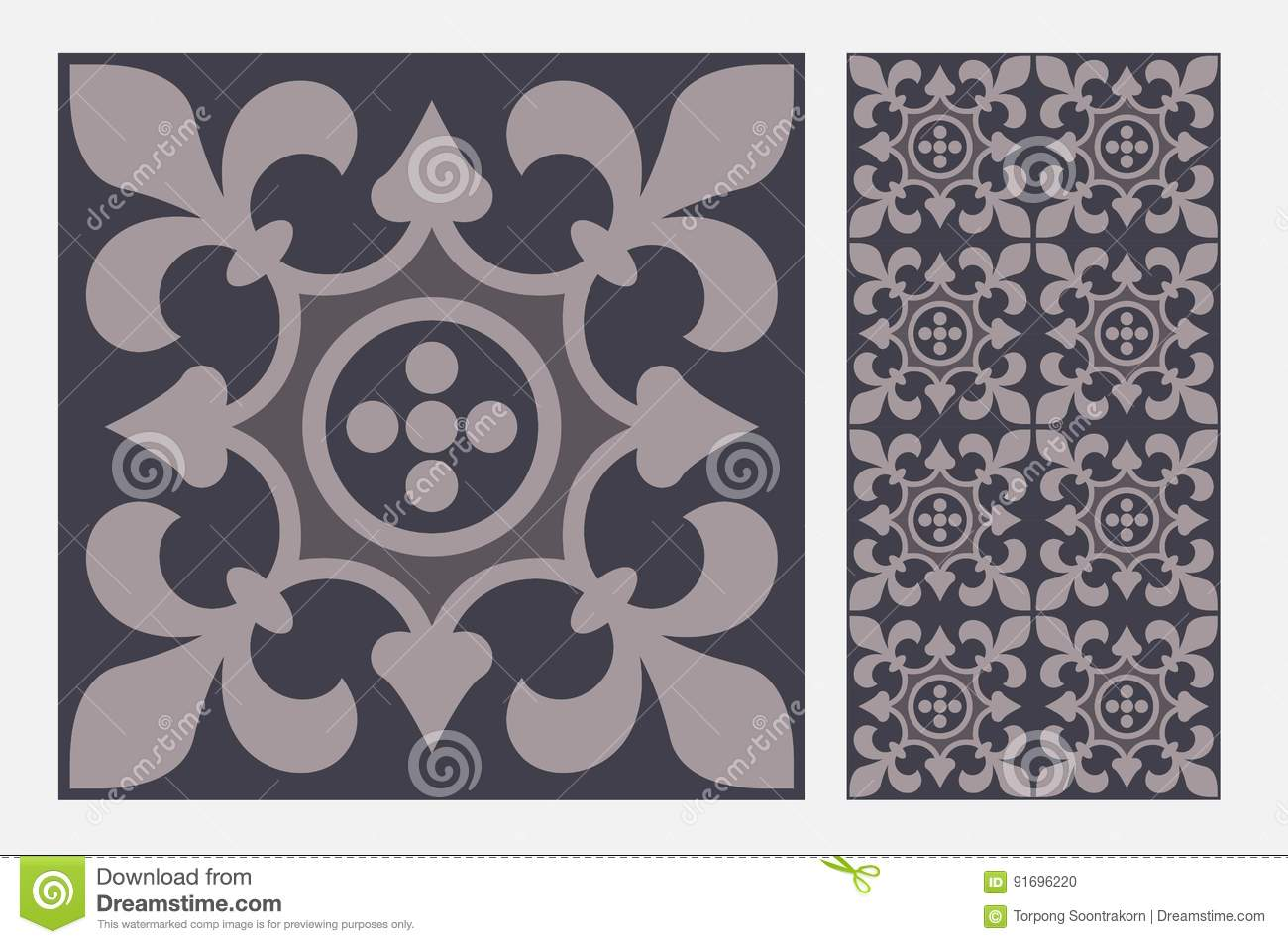 Vintage Tile Wall Craft Design Patterns Stock Vector Illustration
