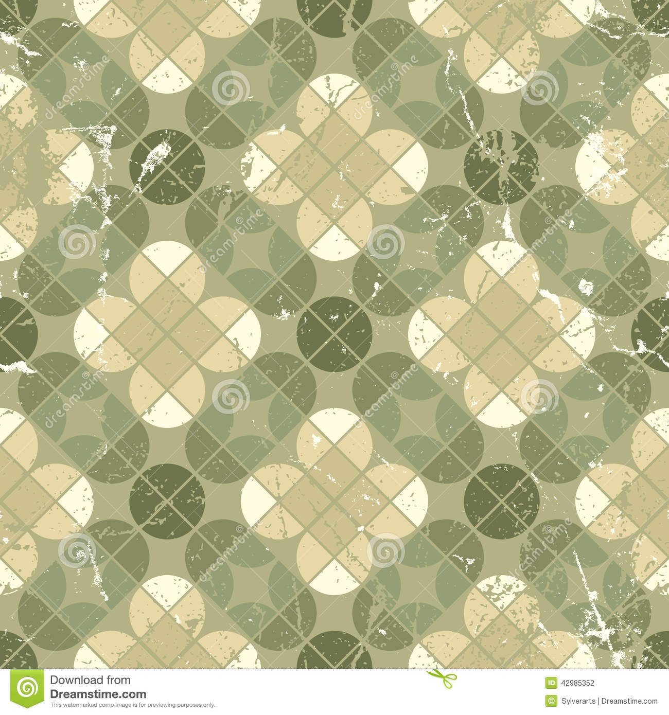 Vintage Tiles With Grunge Texture Seamless Background
