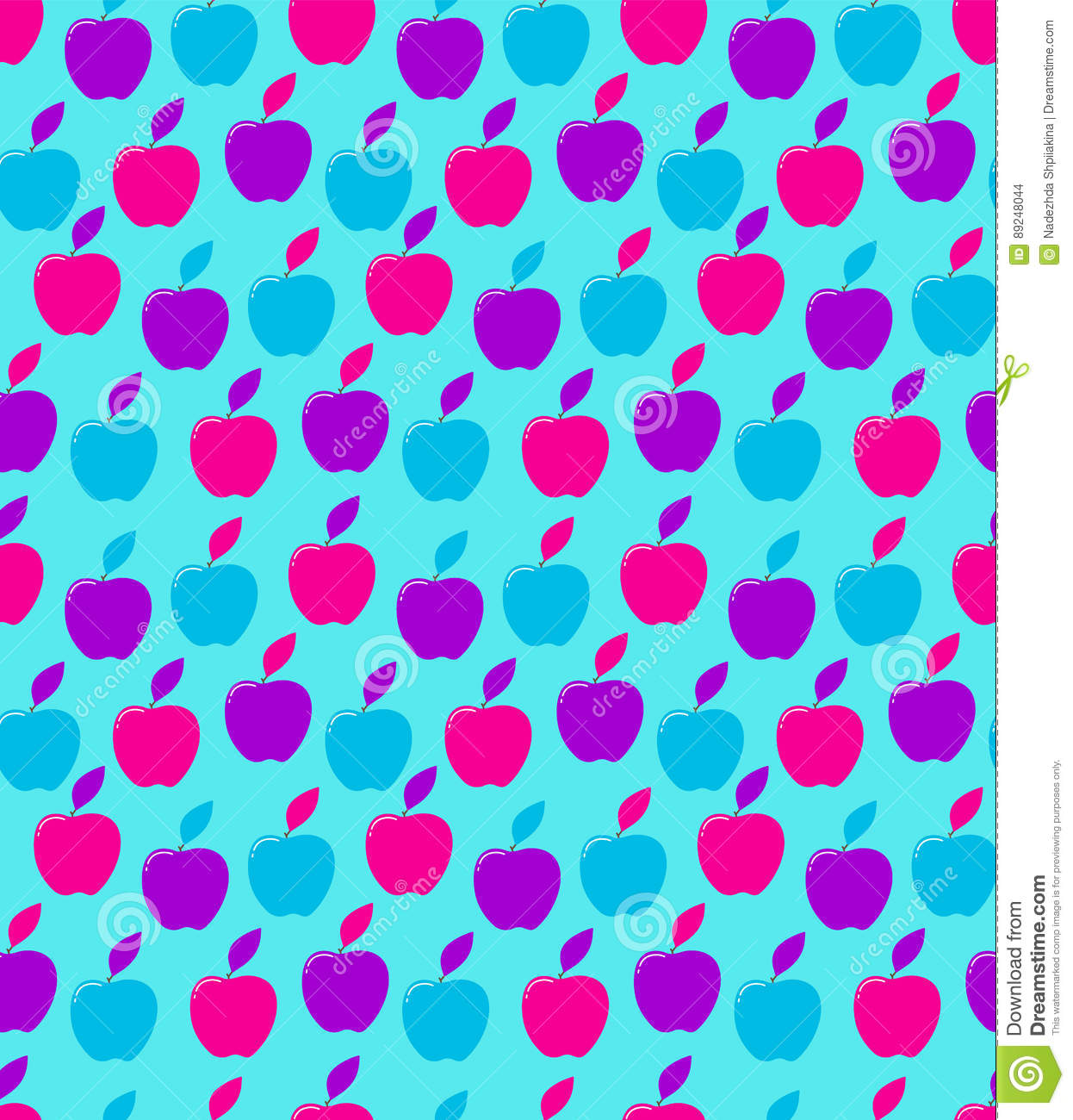 Vintage Tiling Seamless Pattern With Decorative Apples  Neon