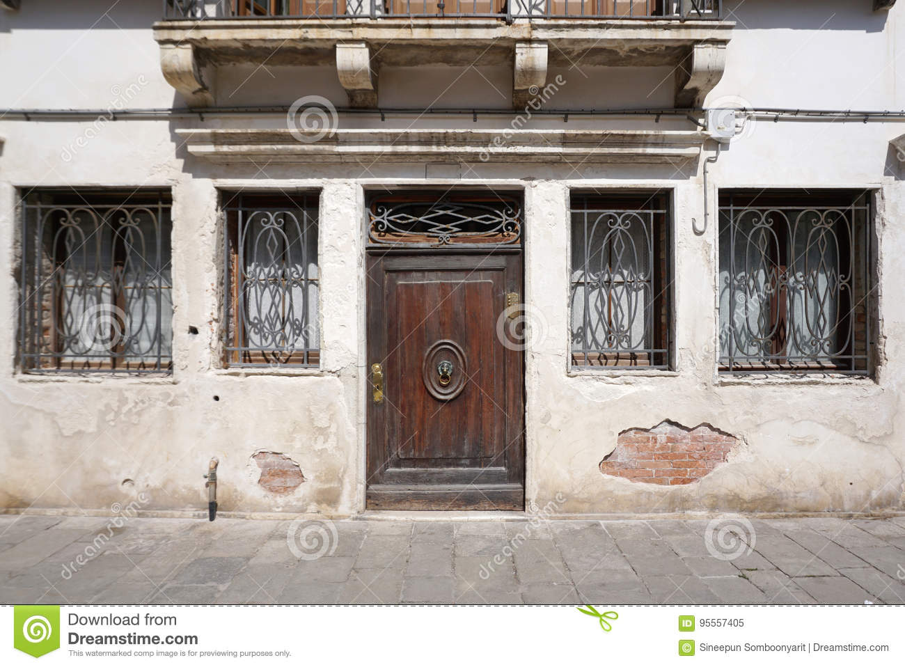 vintage timber dooor on the old building facade stock image image