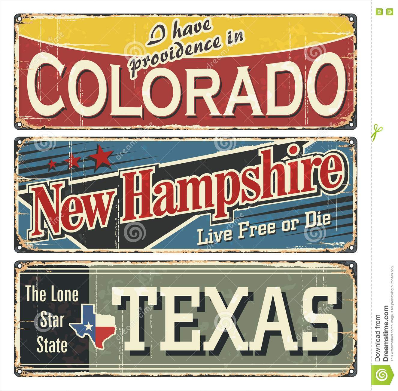 Vintage Tin Sign Collection With America State  Colorado